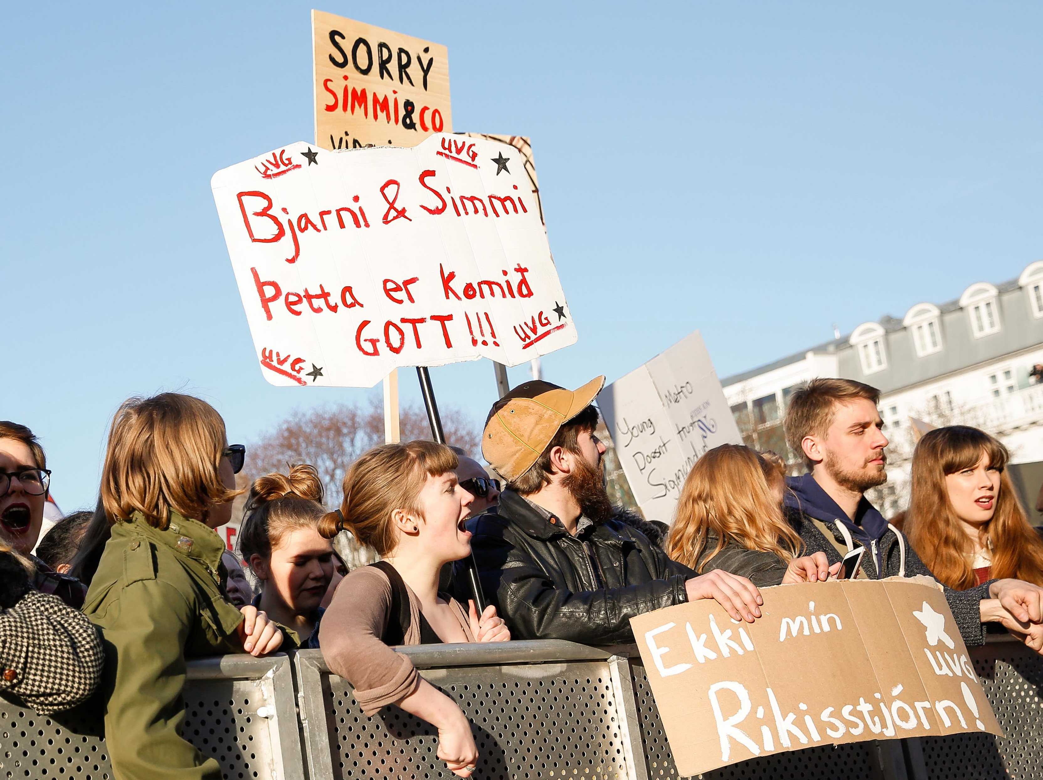 People gather to demonstrate against Iceland's prime minister Sigmundur David Gunnlaugsson, in Reykjavik on Monday April 4, 2016.
