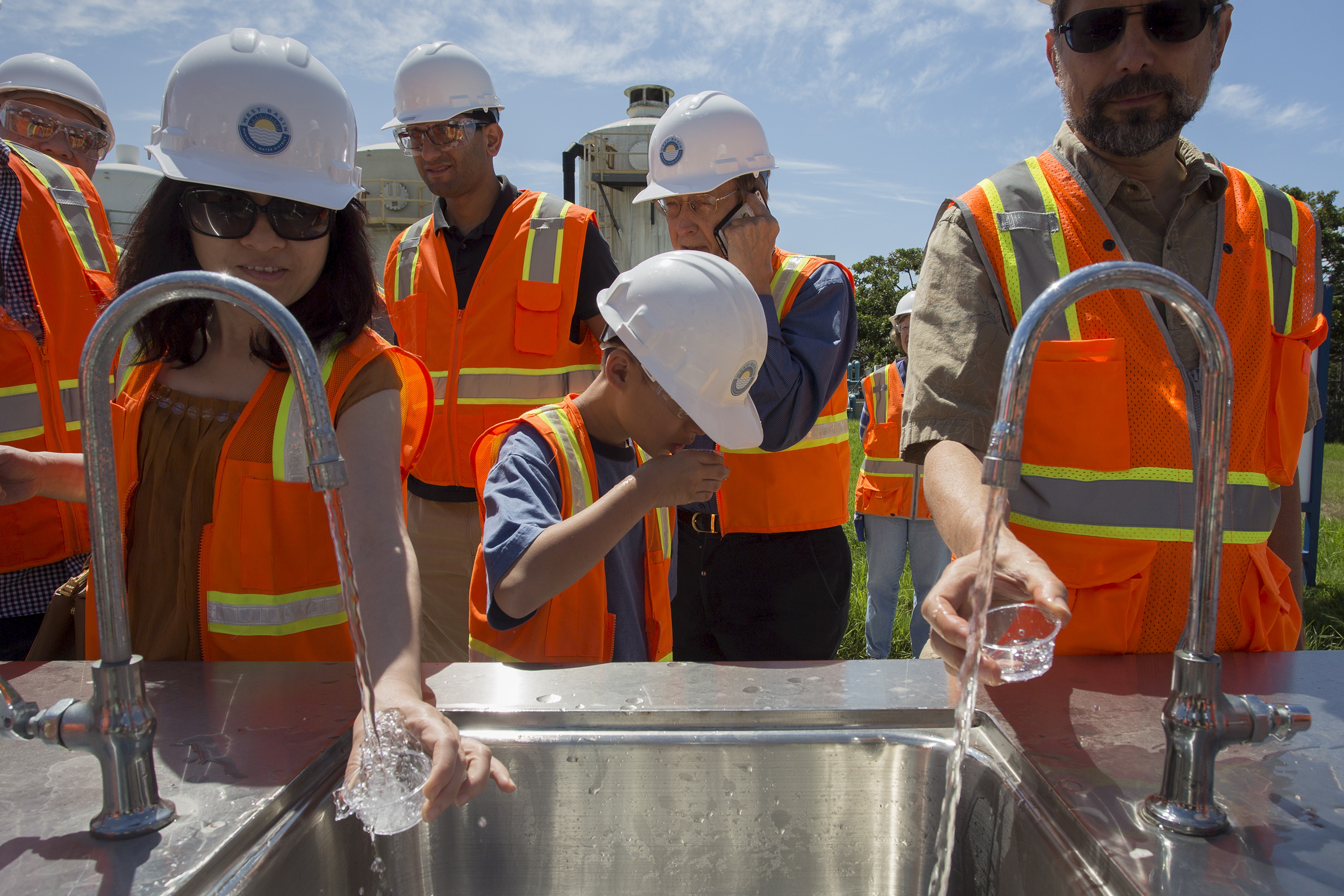 Tasting recycled wastewater at the Edward C. Little Water Recycling Facility in El Segundo, CA, July 11, 2015. Orange County's wastewater treatment program is more than twice the size, while the Metropolitan Water District's plan would eclipse even t...