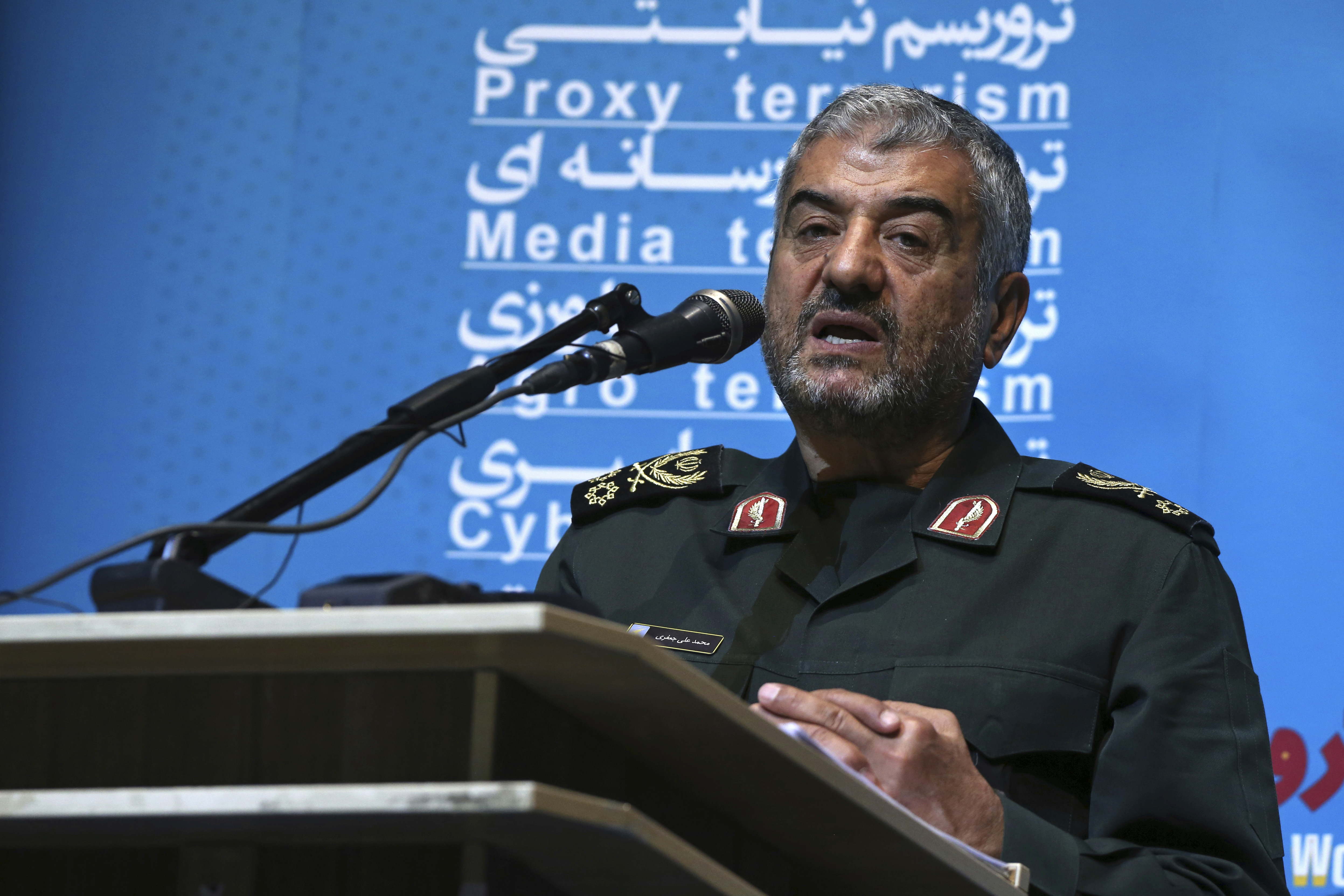 """The head of Iran's paramilitary Revolutionary Guard Gen. Mohammad Ali Jafari speaks during a conference called """"A World Without Terror,"""" in Tehran, Oct. 31, 2017."""