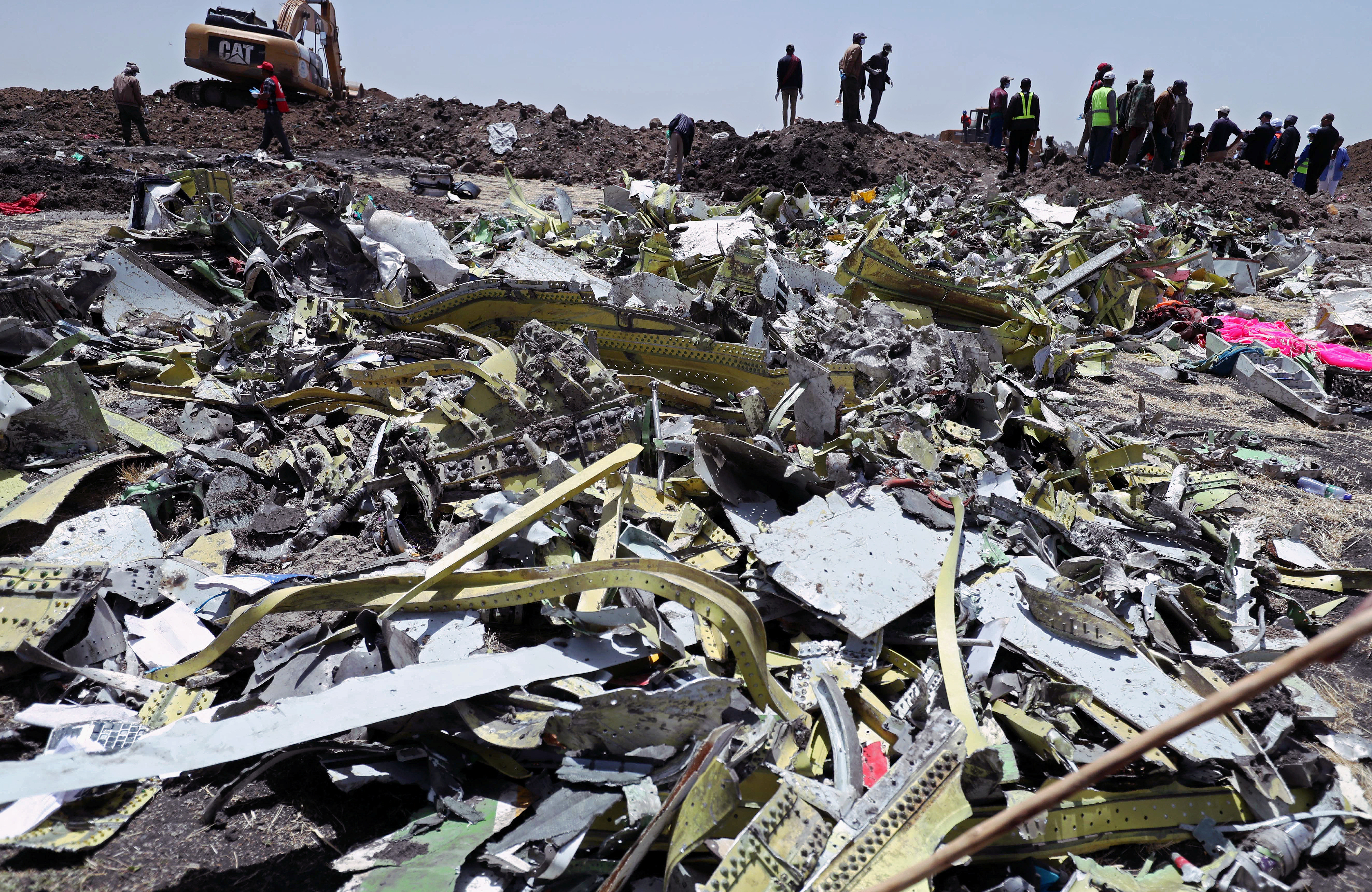 FILE - Wreckage is seen at the site of the Ethiopian Airlines plane crash, southeast of Addis Ababa, Ethiopia, March 11, 2019.