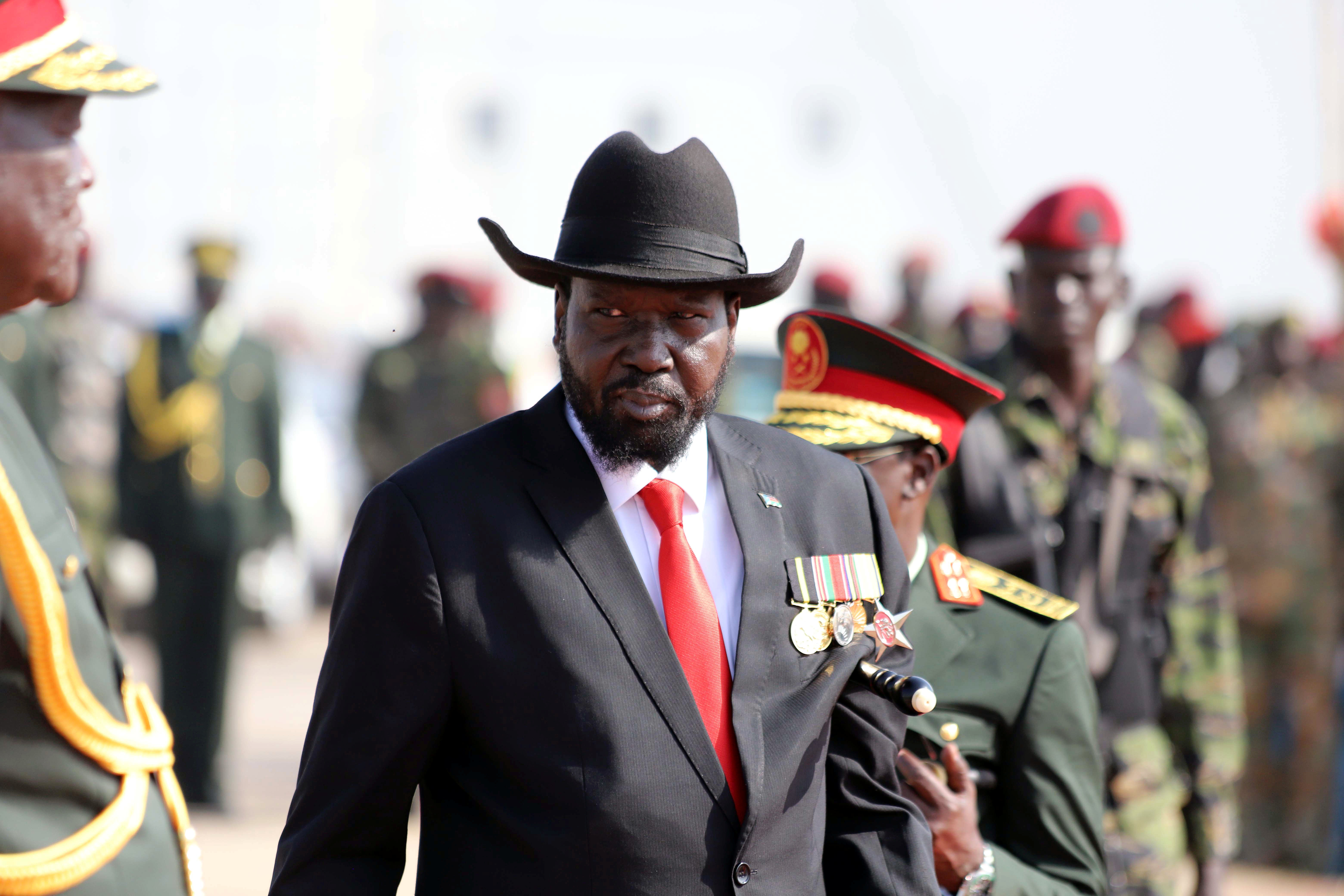 South Sudan's president Salva Kiir attends a medals awarding ceremony for long serving servicemen of the South Sudan People's Liberation Army in the Bilpam, military headquarters in Juba, South Sudan Jan. 24, 2019.