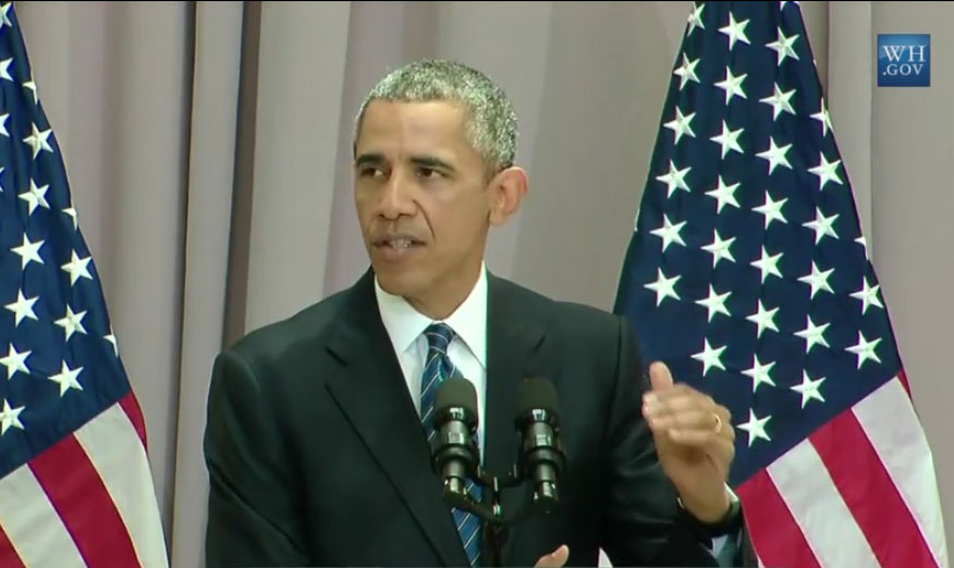 President Barack Obama delivers a speech defending the nuclear deal reached with Iran, at American University in Washington, D.C., Aug. 5, 2015.