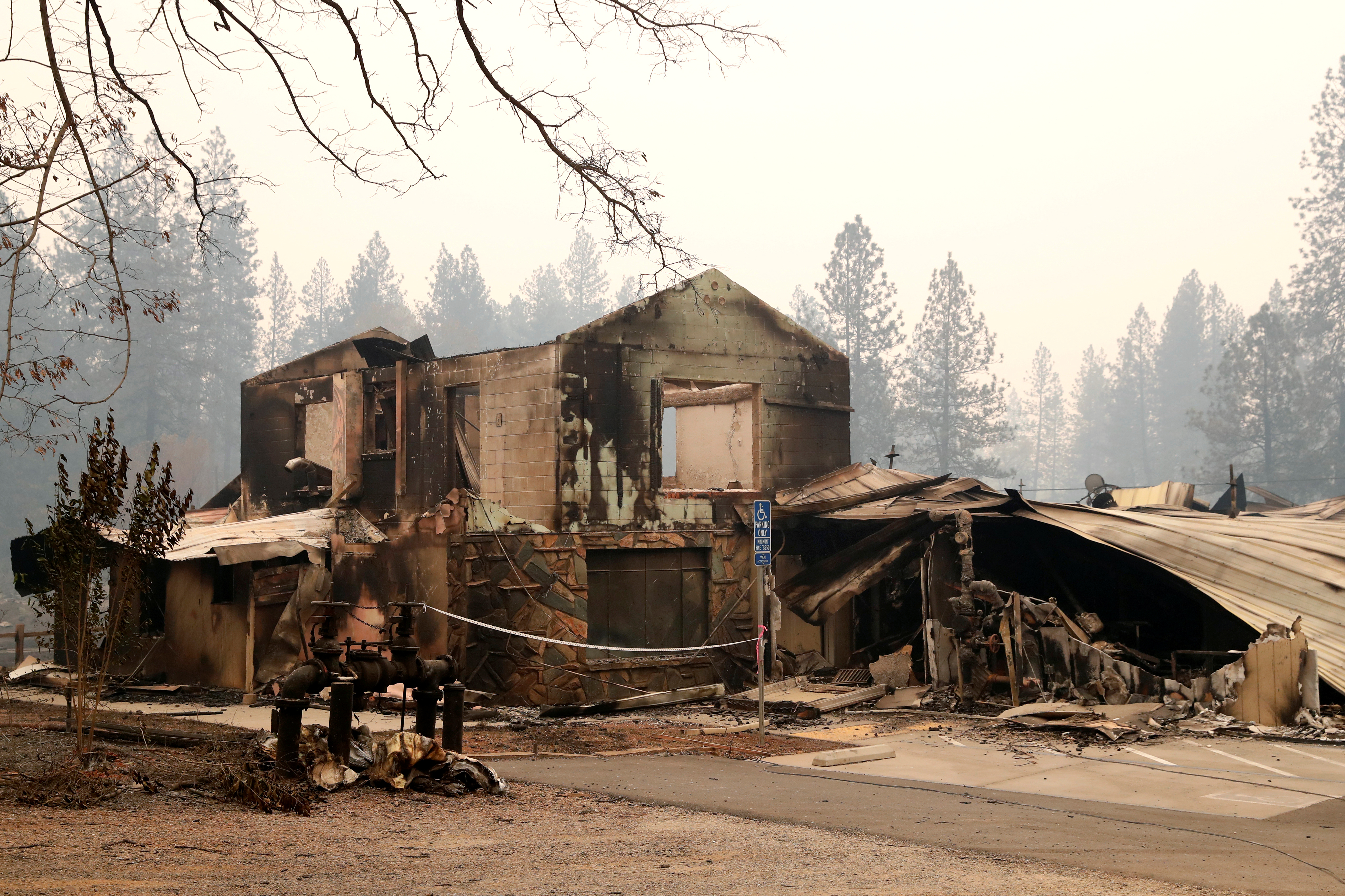 A building destroyed by the Camp Fire is seen in Paradise, California, Nov. 13, 2018.