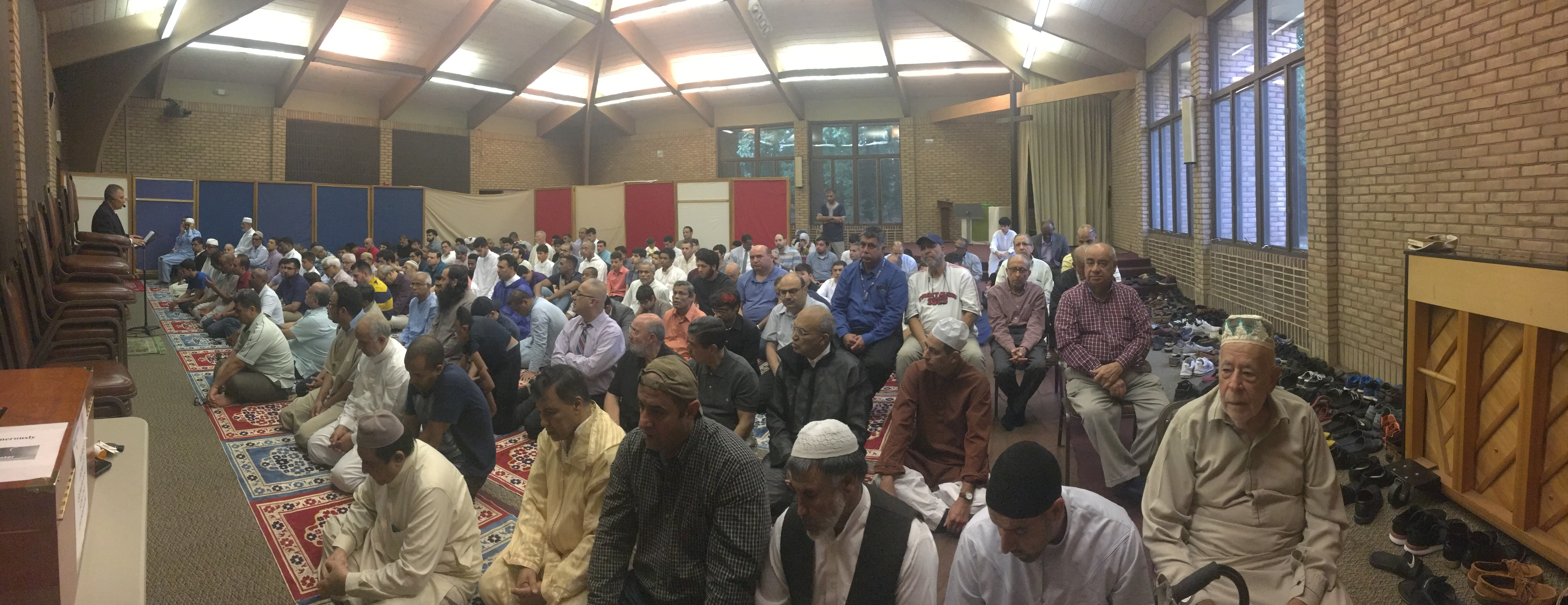 America Muslims perform Eid prayers at the St. Andrew's Church in Burke, Virginia, Aug. 21, 2018. The church regularly shares its space with the nearby Peace Islamic Center.
