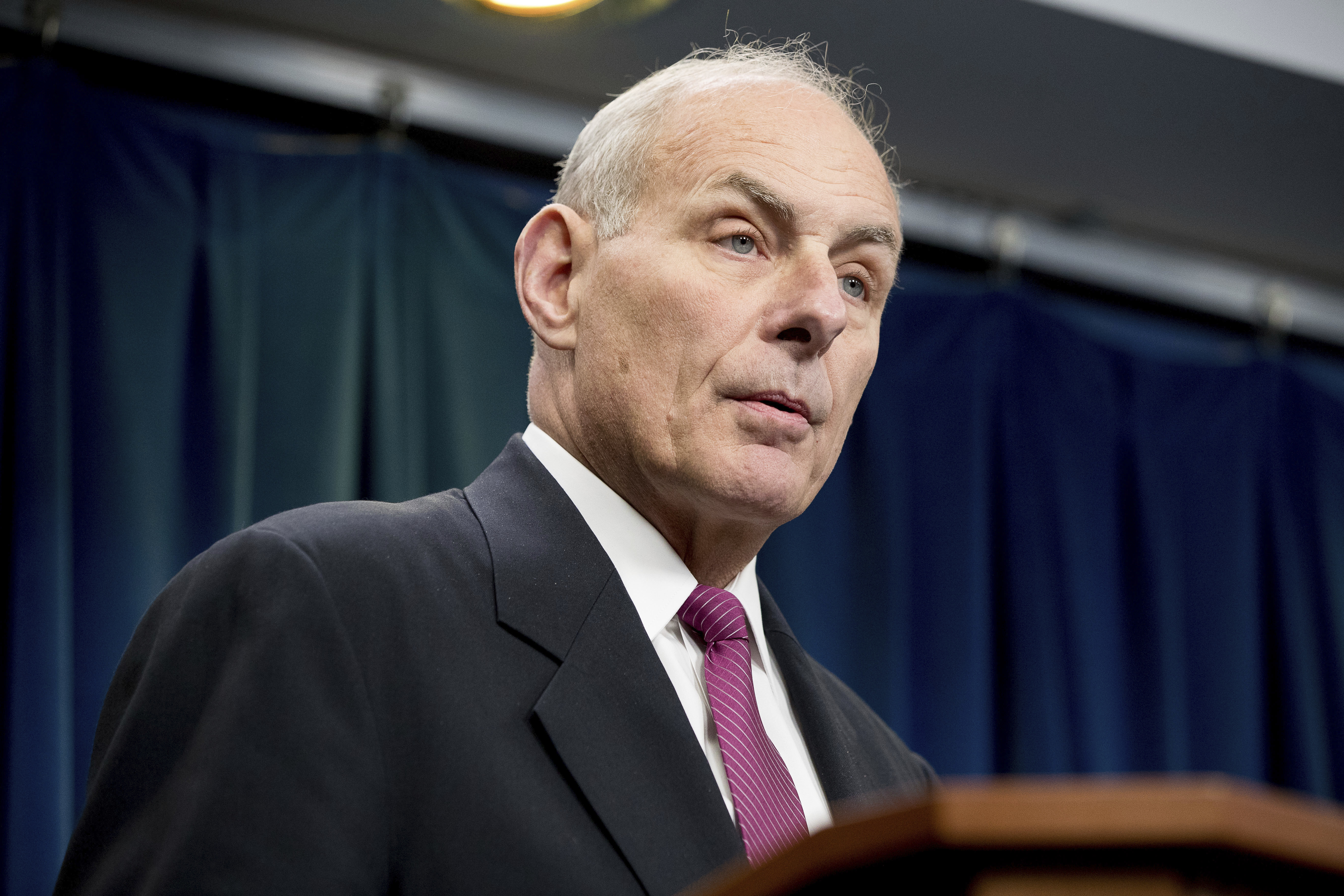Homeland Security Secretary John Kelly speaks at a news conference at the U.S. Customs and Border Protection headquarters in Washington, Jan. 31, 2017, to discuss the operational implementation of the president's executive orders.