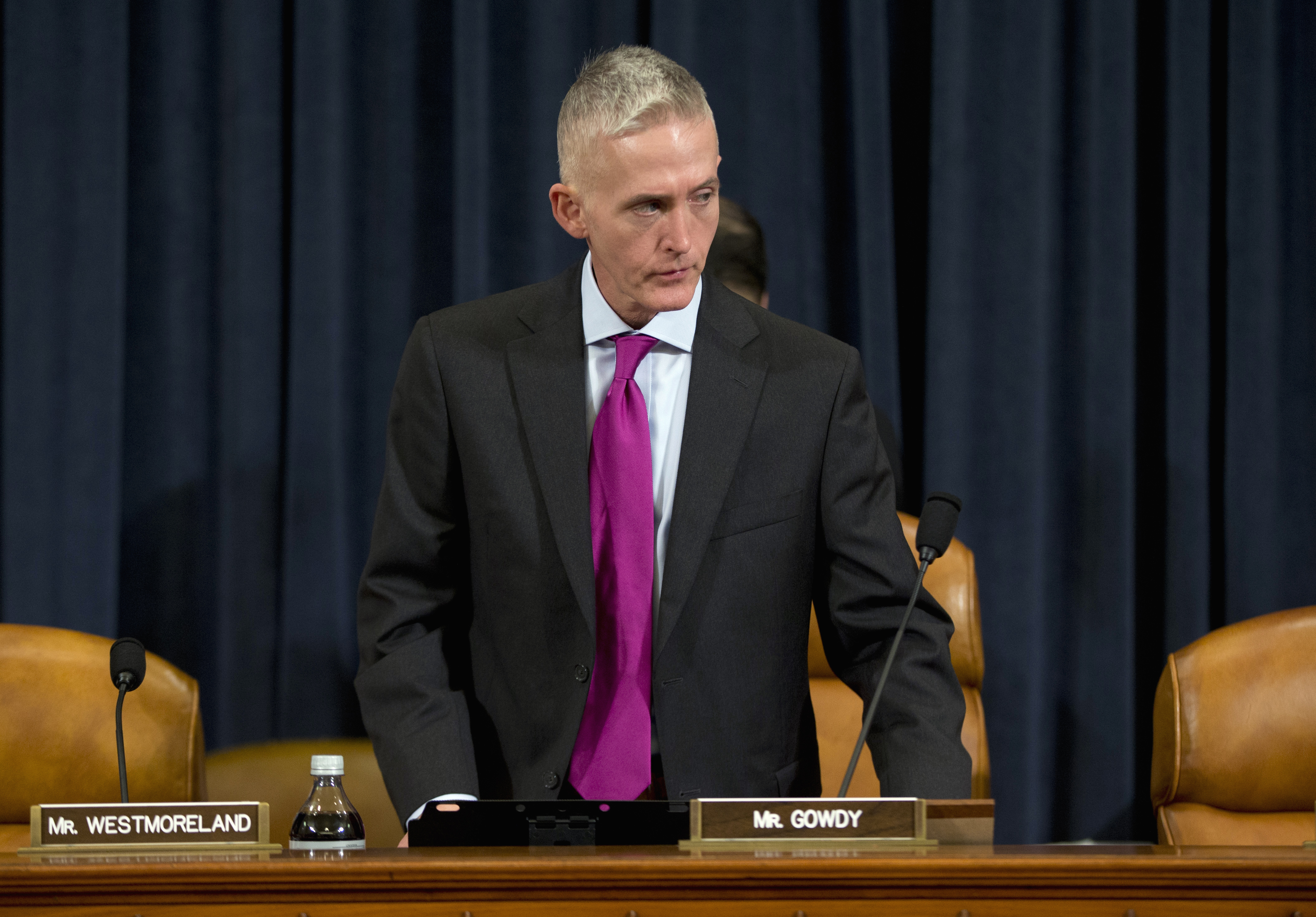 House Benghazi Committee Chairman Representative Trey Gowdy is seen prior to the start of the committee's hearing on Benghazi, on Capitol Hill in Washington, Oct. 22, 2015.