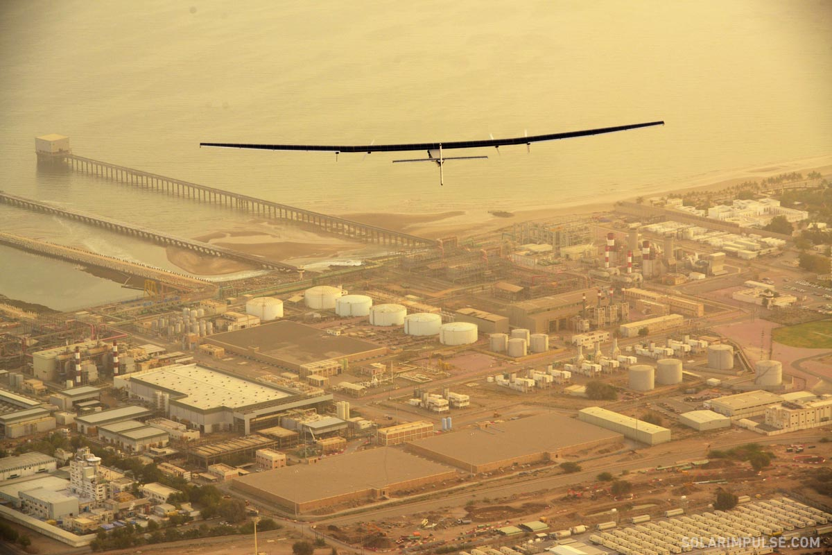 Solar Impulse in flight over Oman on its way to Ahmedabad, India, March 10, 2015.
