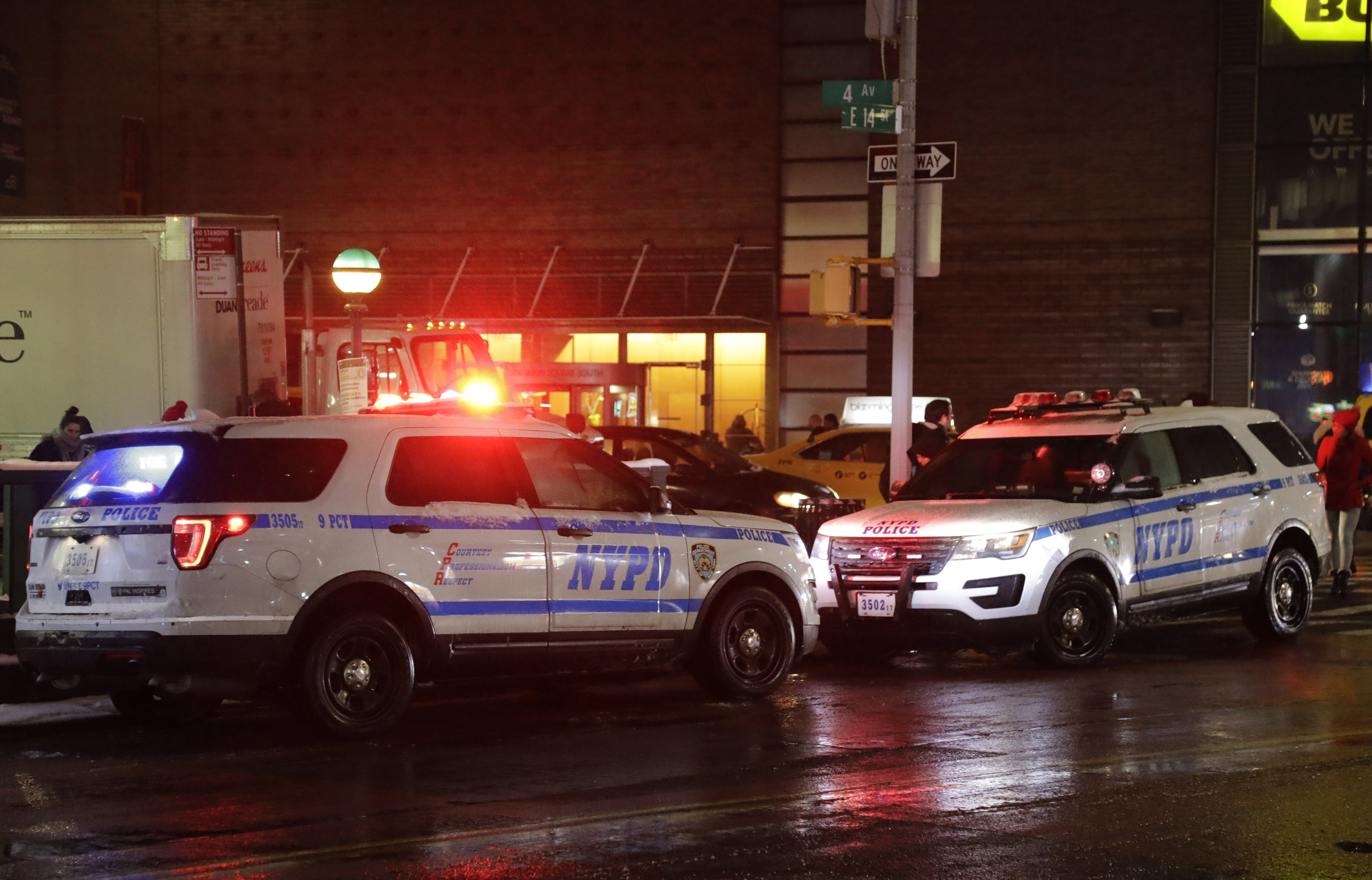 In this  Feb. 20, 2019, photo, police vehicles respond in New York. A pair of city lawmakers has proposed switching to the high-low, European-style wail heard on the streets of London and Paris.