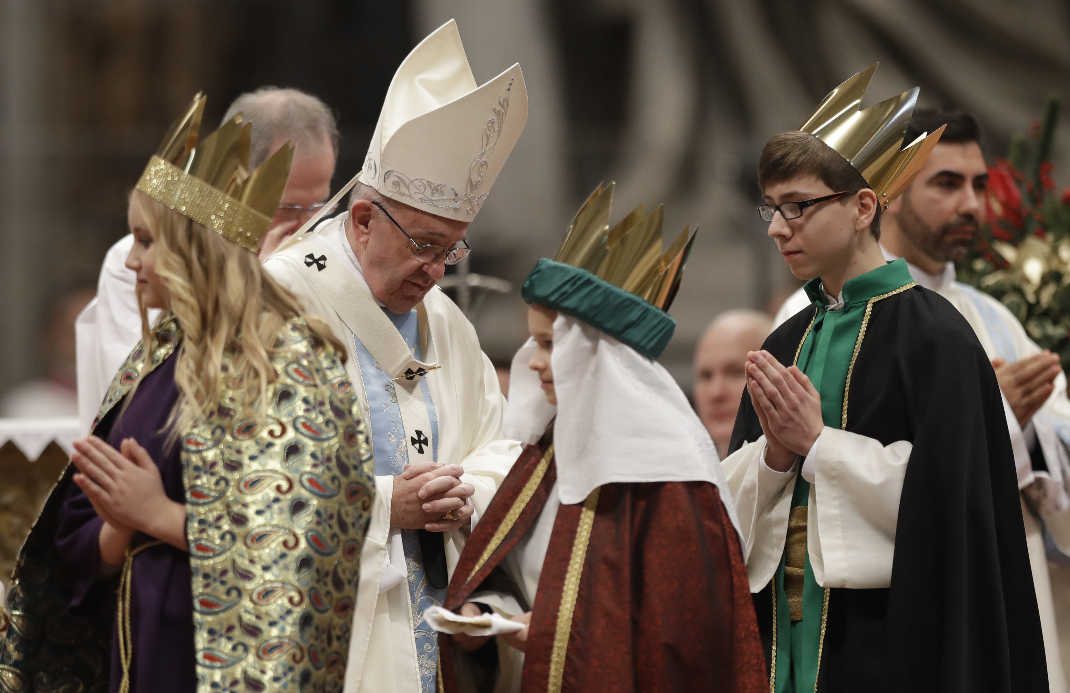 Pope Francis celebrates a new year's Mass in St. Peter's Basilica at the Vatican, Jan. 1, 2017.