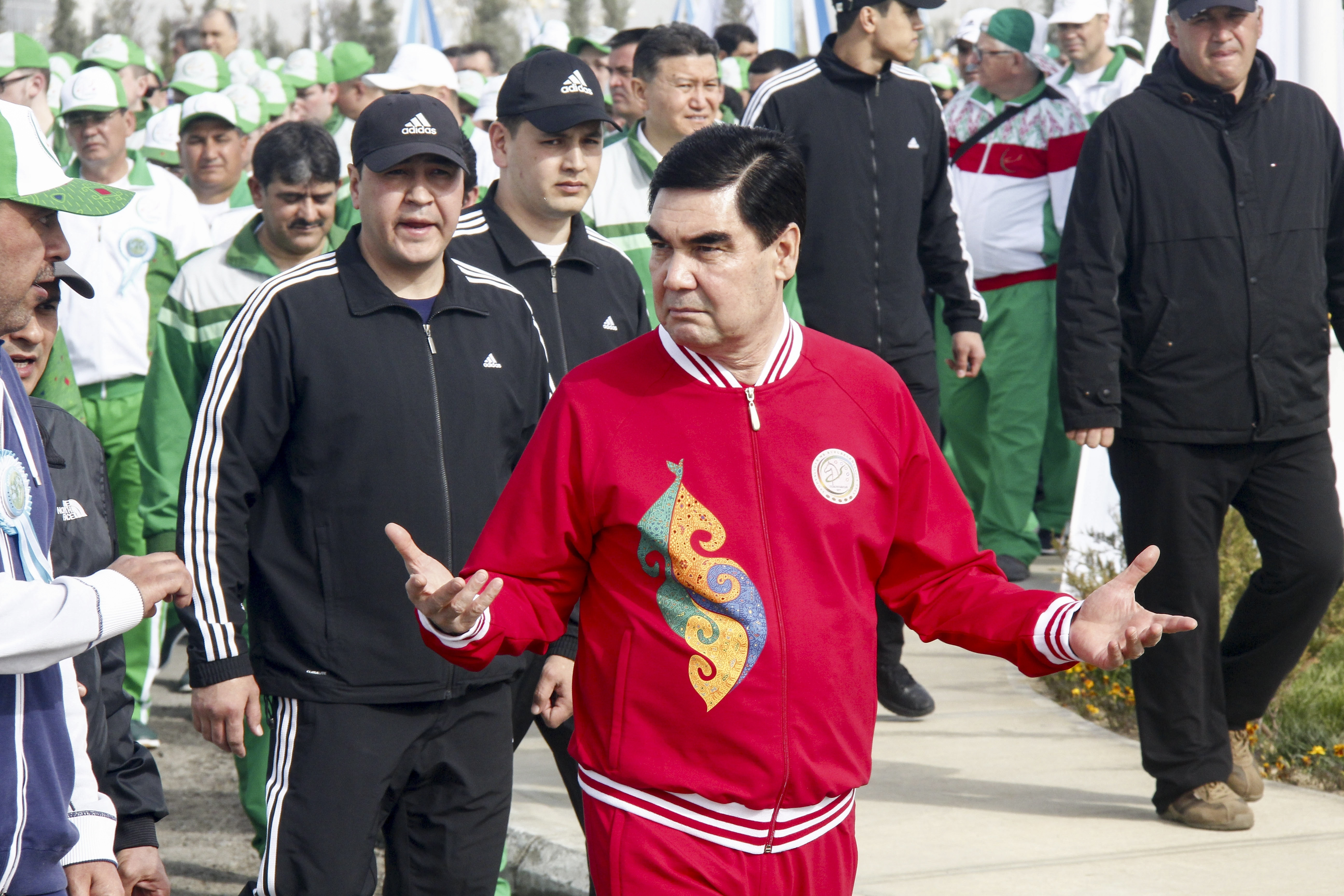 FILE - Turkmen President Gurbanguli Berdymukhamedov attends the opening ceremony of a new sports complex at the new tourist zone of Awaza on the Caspian Sea in Turkmenistan, April 7, 2017. Turkmenistan is hosting the fifth Asian Indoor and Martial Ar...