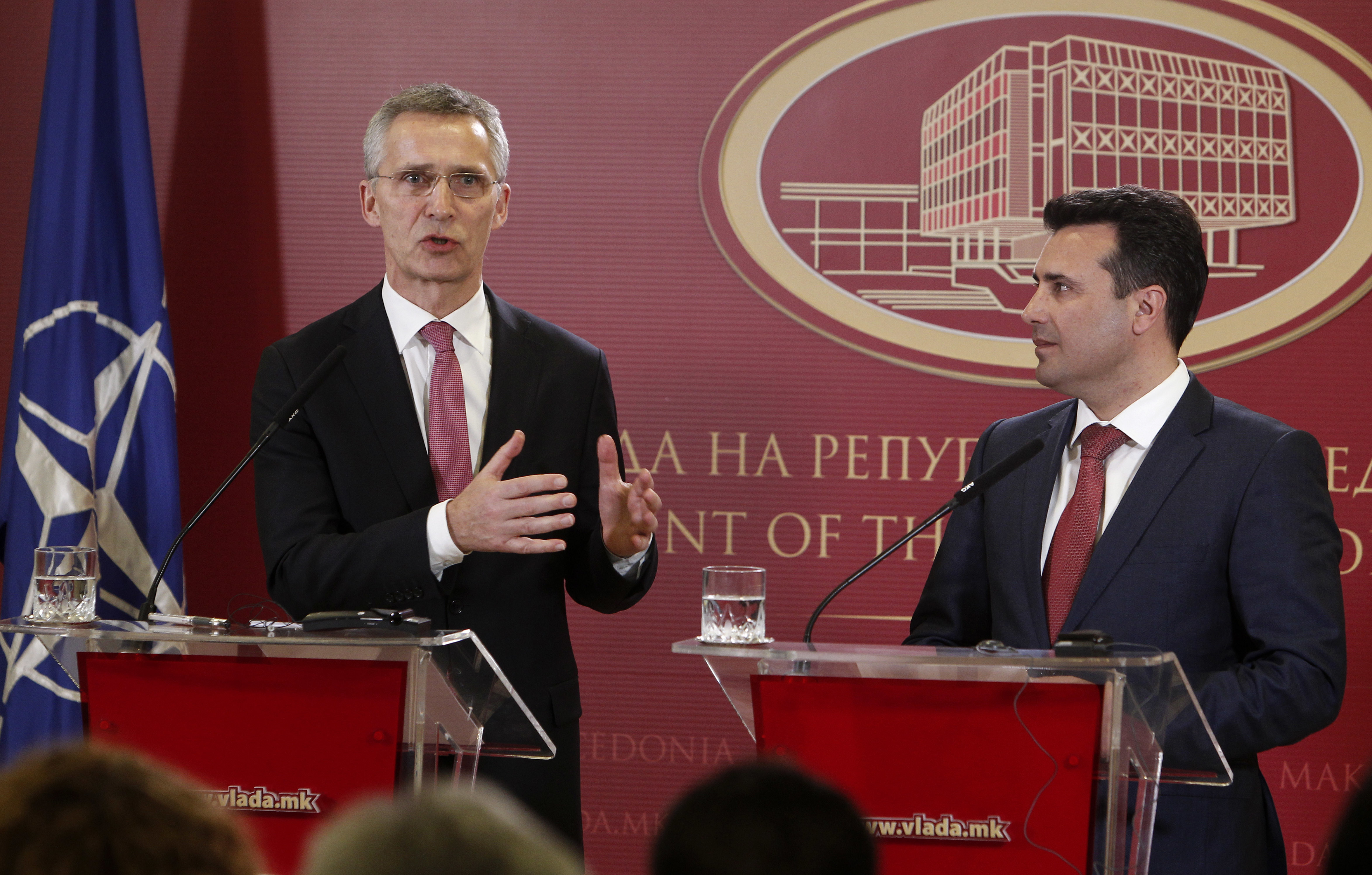 NATO Secretary General Jens Stoltenberg, left, talks for the media during a news conference with Macedonian Prime Minister Zoran Zaev, right, following their meeting at the Government building in Skopje, Macedonia, Jan. 18, 2018.