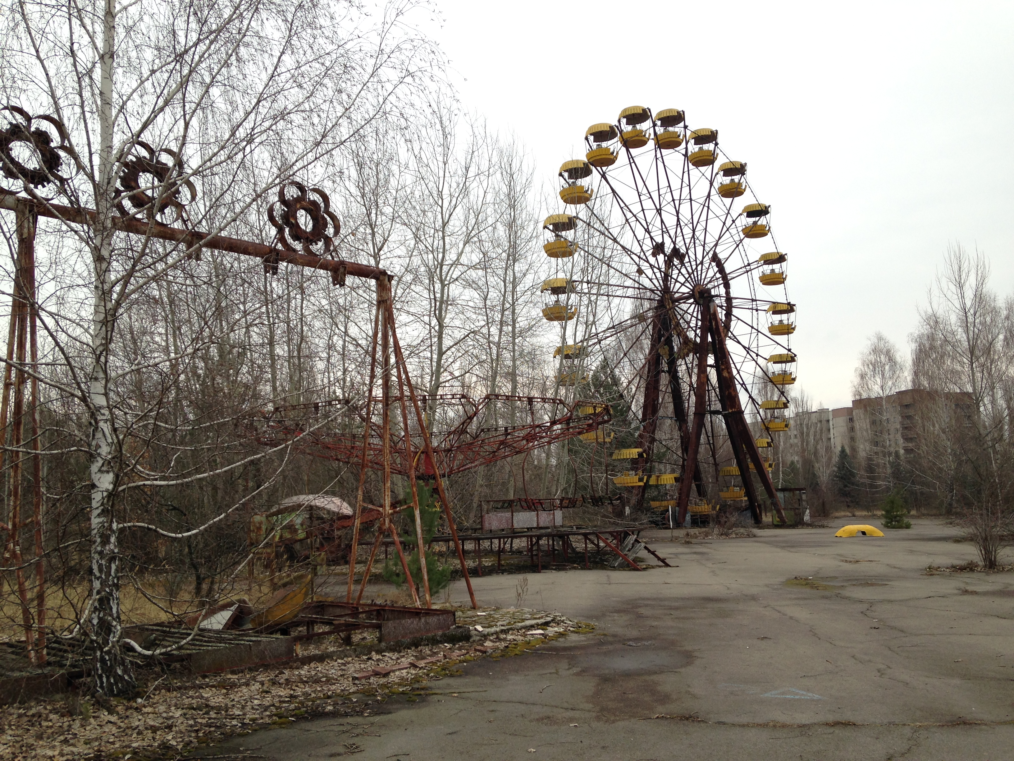 The Ferris wheel in the Pripyat amusement park, now an iconic symbol to a younger generation born after the Chernobyl disaster, thanks to its inclusion in the video game: Call of Duty 4: Modern Warfare.
