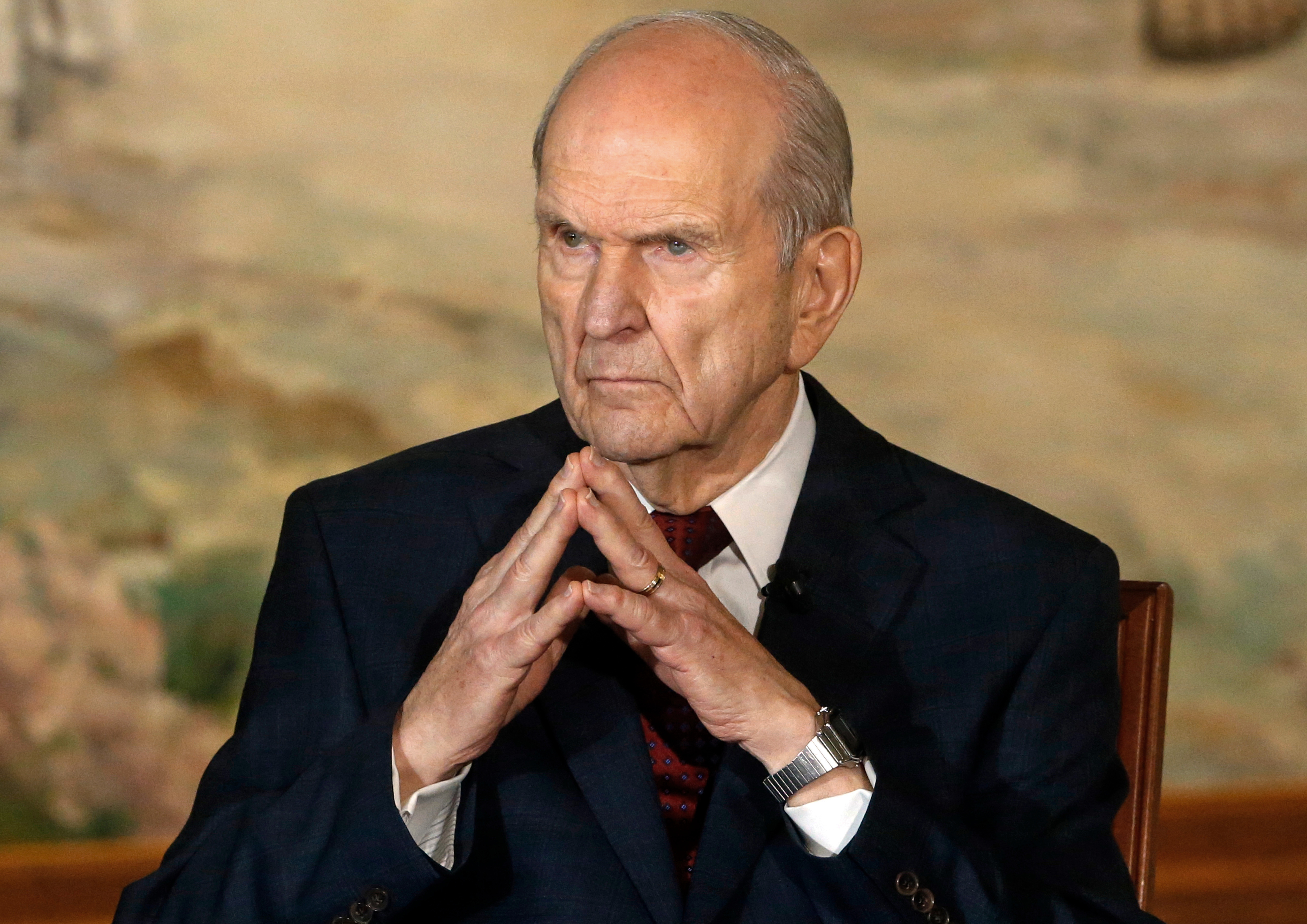 FILE - President Russell M. Nelson looks on following a news conference, in Salt Lake City, Jan. 16, 2018. The Mormon church is expected to select two new members to a top governing body during a twice-yearly church conference this weekend.
