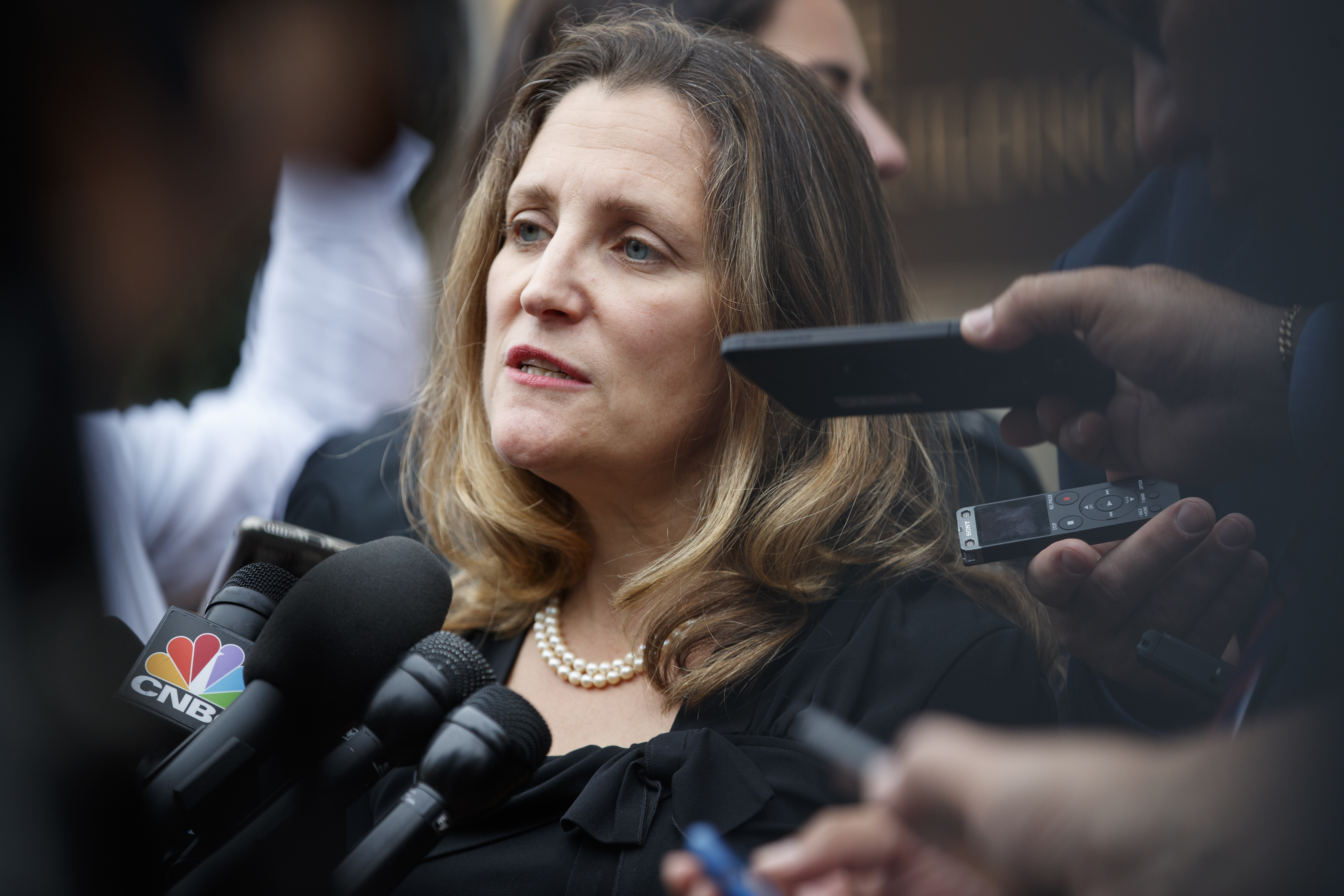 Canadian Foreign Affairs Minister Chrystia Freeland speaks to the media as she arrives at the Office of the United States Trade Representative, Sept. 11, 2018, in Washington.