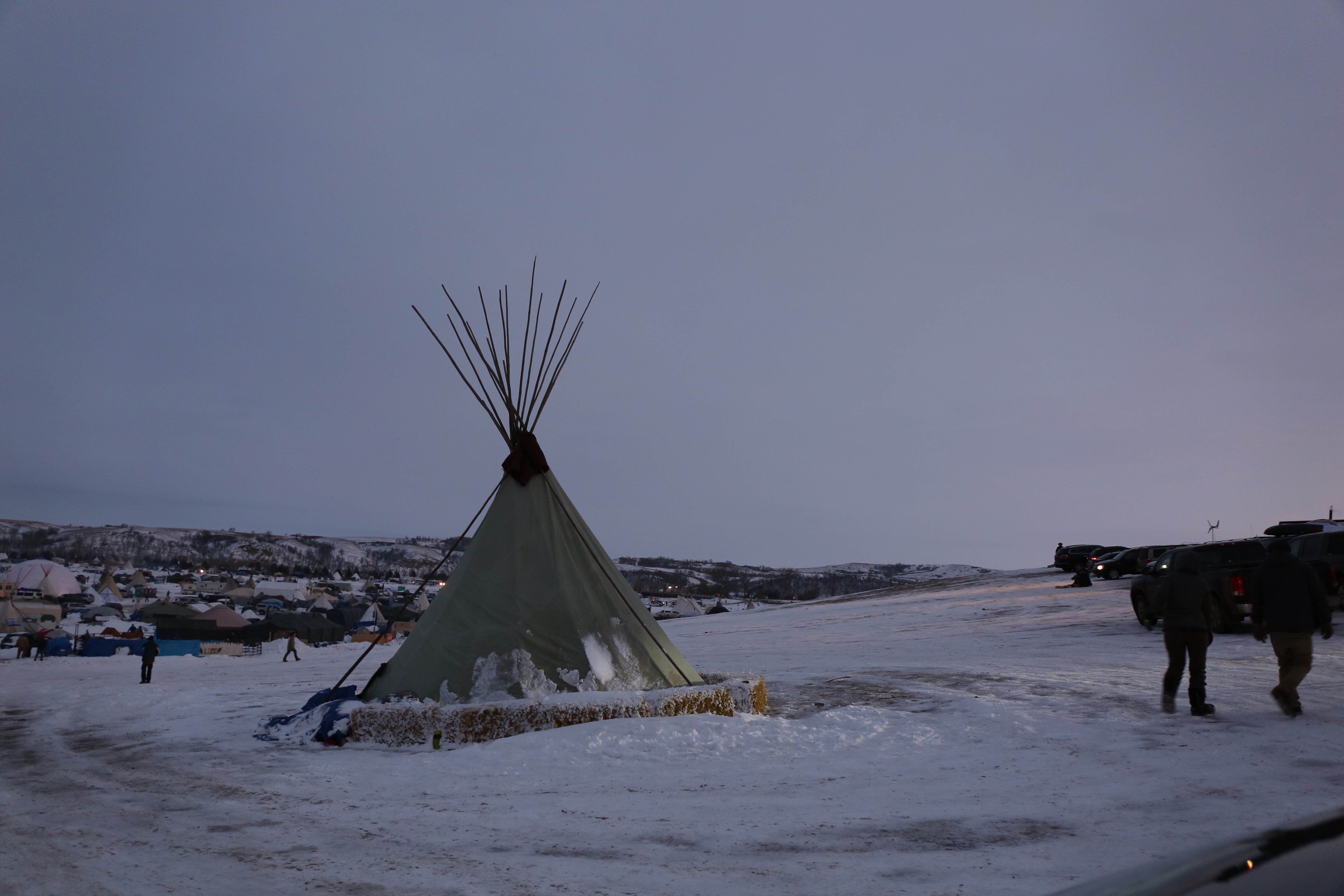 One of many traditional teepees set up across the Standing Rock camp near Cannon Ball, North Dakota. Thousands of activists have squared off against authorities in frigid conditions to oppose a multibillion-dollar pipeline project near a Native Ameri...