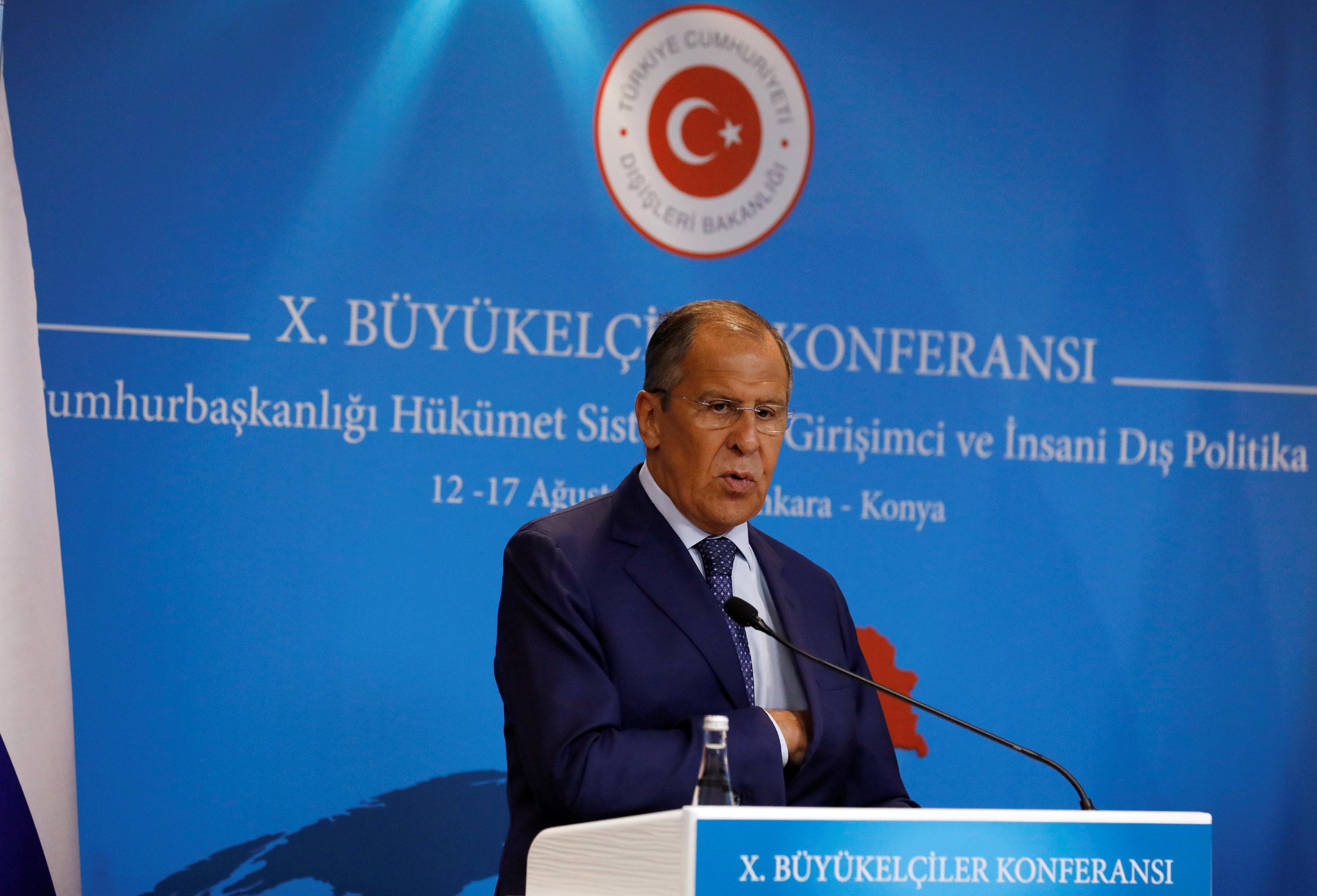 Russian Foreign Minister attends a news conference in Ankara, Turkey, Aug. 14, 2018.