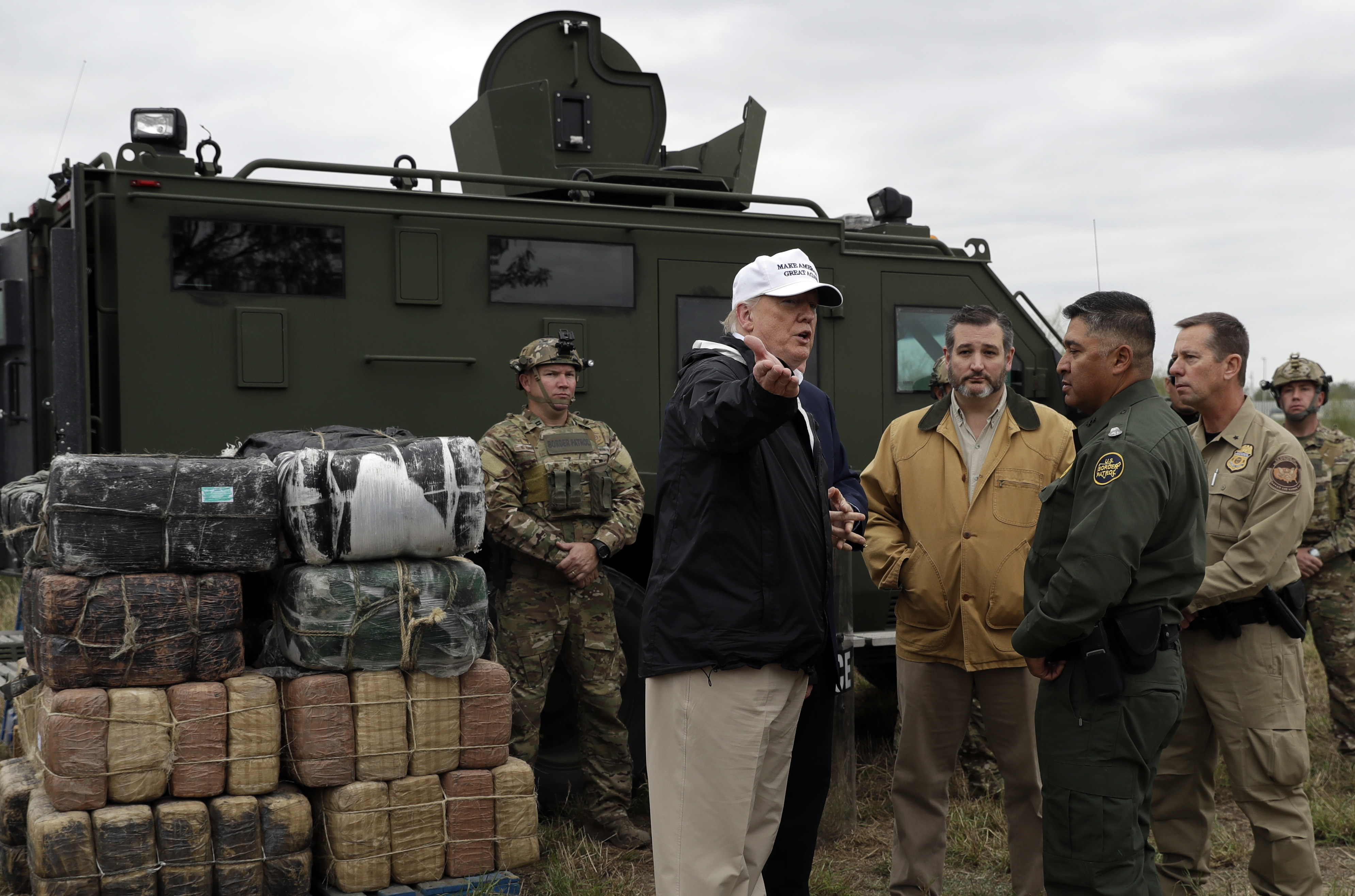 President Donald Trump tours the U.S. border with Mexico at the Rio Grande on the southern border in McAllen, Texas, Jan. 10, 2019.
