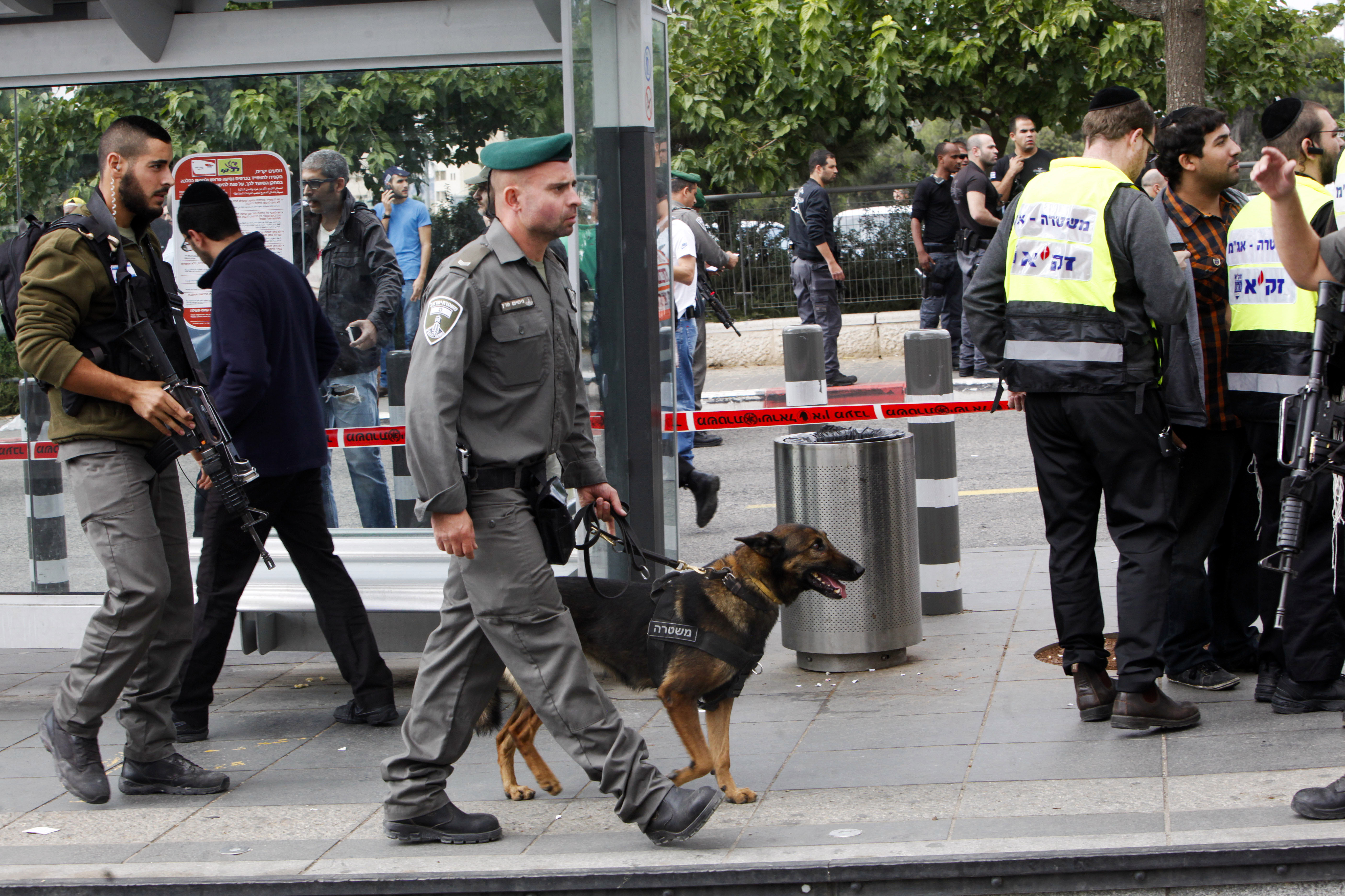 Israeli police secure the scene of a stabbing incident in Jerusalem Oct. 30, 2015.