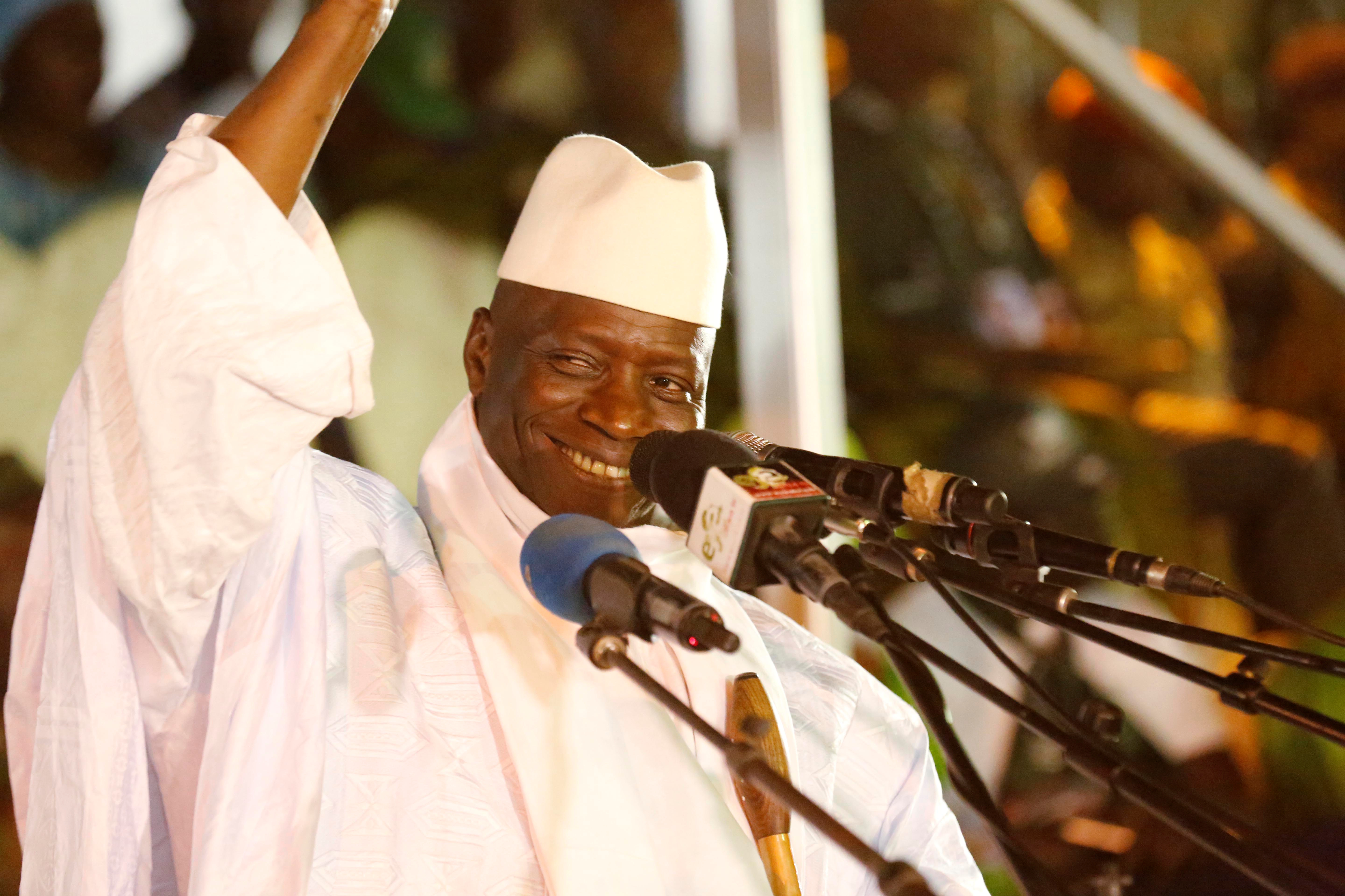 Gambia's President Yahya Jammeh, attends a rally in Banjul, Gambia, Nov. 29, 2016.