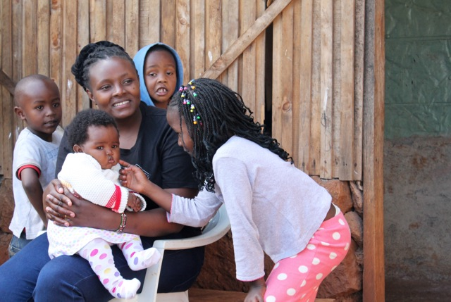 Esther Njau gave birth to her daughter Marie five months ago. (Hilary Heuler/VOA News)