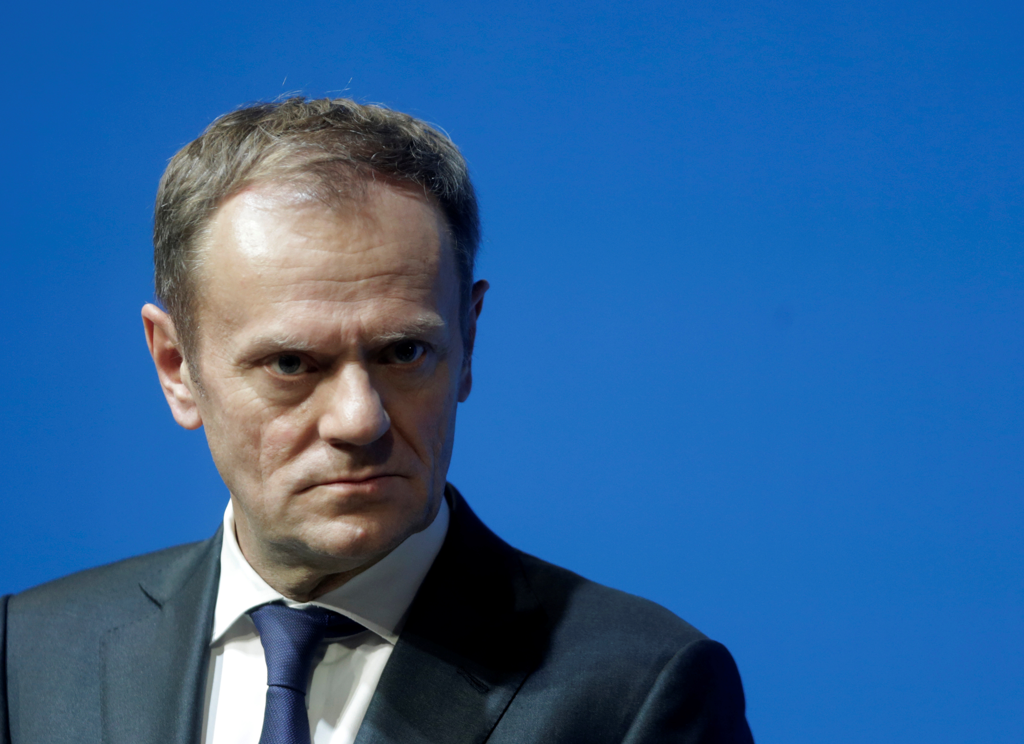"European Council President Donald Tusk listens during a news conference in Tallinn, Estonia, Jan. 31, 2017. Tusk said in a letter to EU leaders that ""the change in Washington puts the European Union in a difficult situation, with the new administrati..."
