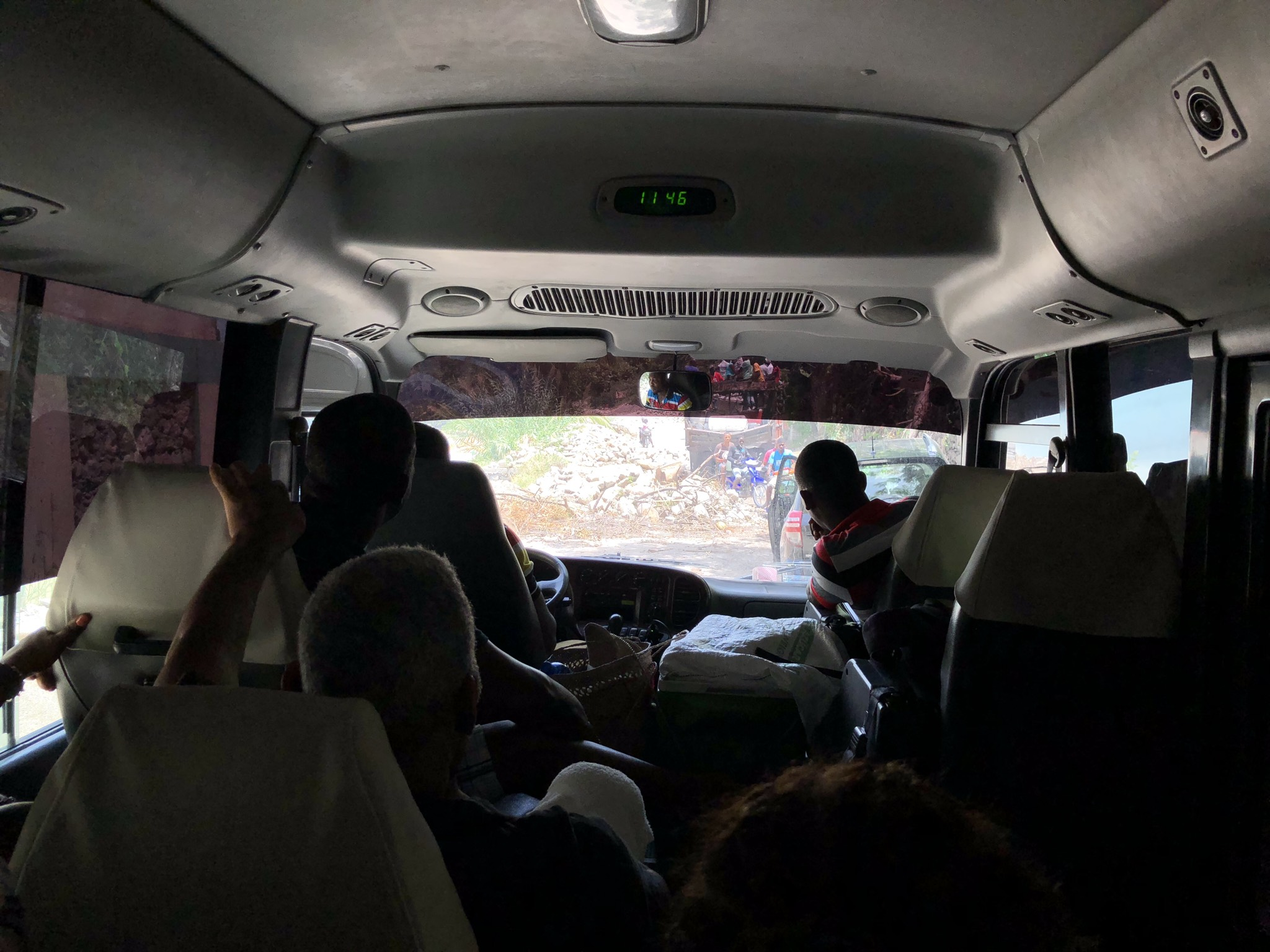 View from inside tour bus