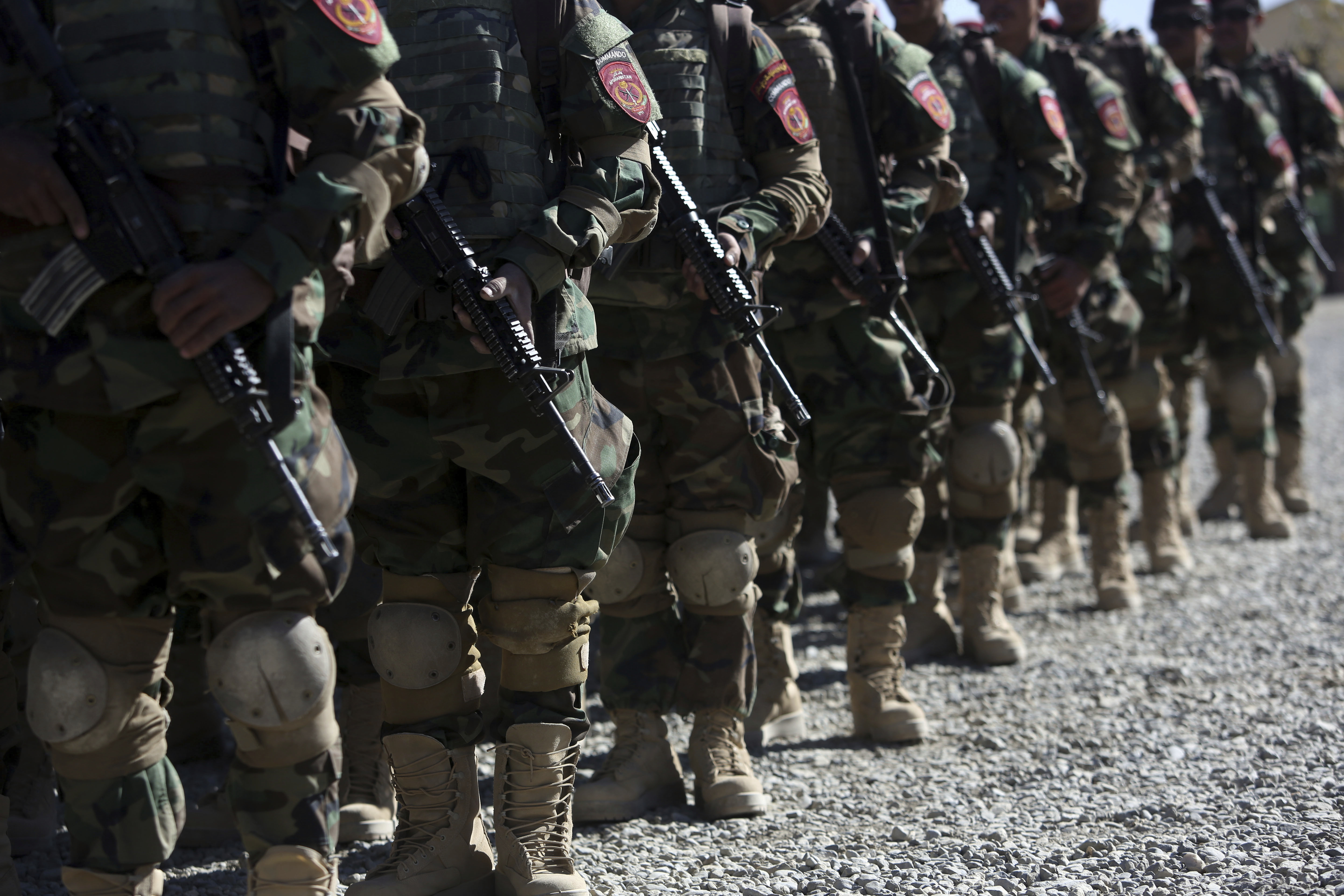 New members of the Afghan Special forces attend their graduation ceremony at the Afghan Corp, on the outskirts of Kabul, Afghanistan, Oct. 25, 2017.