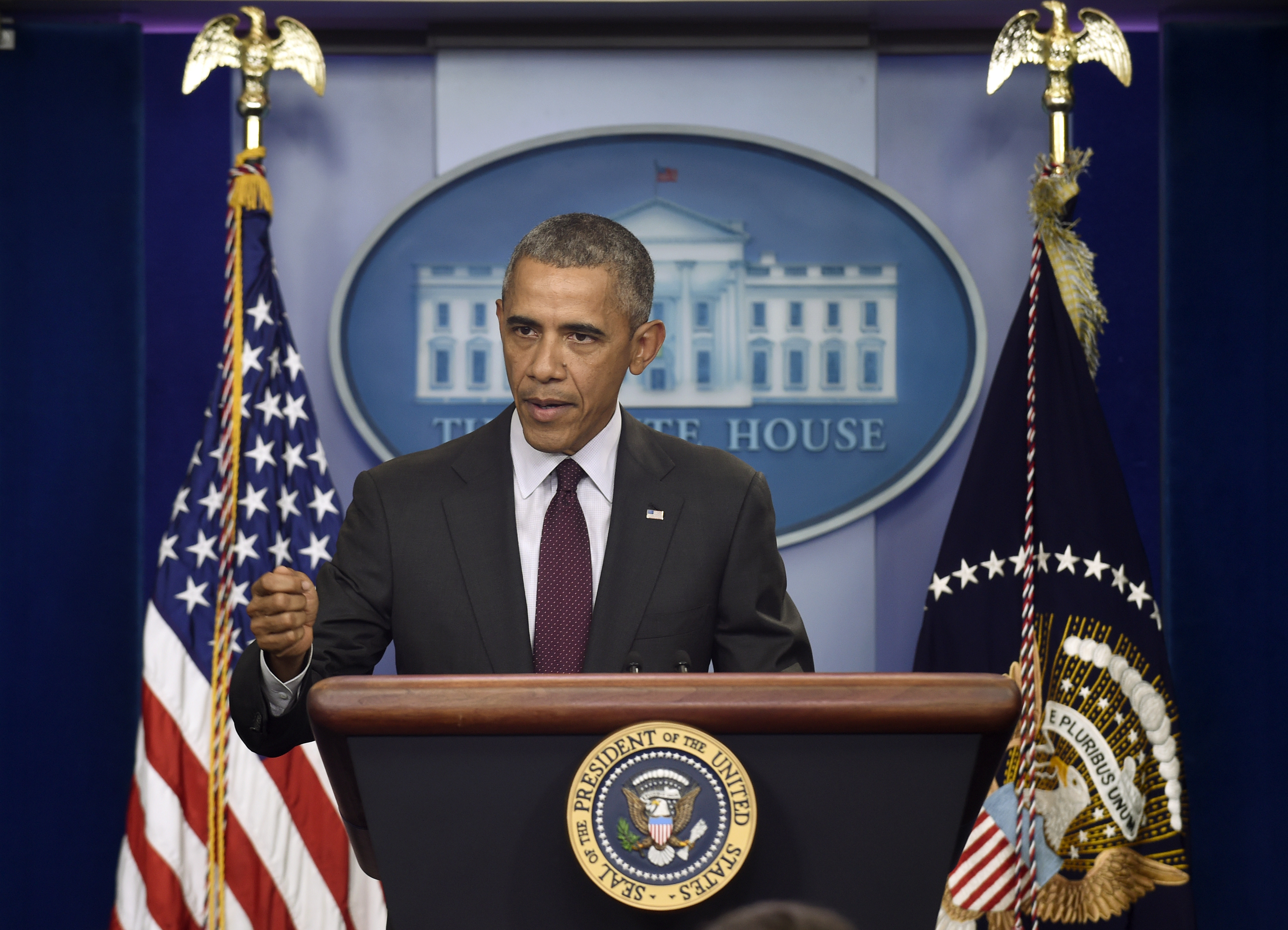 President Barack Obama speaks about the shooting at the community college in Oregon, in the Brady Press Briefing Room at the White House in Washington, Oct. 1, 2015.