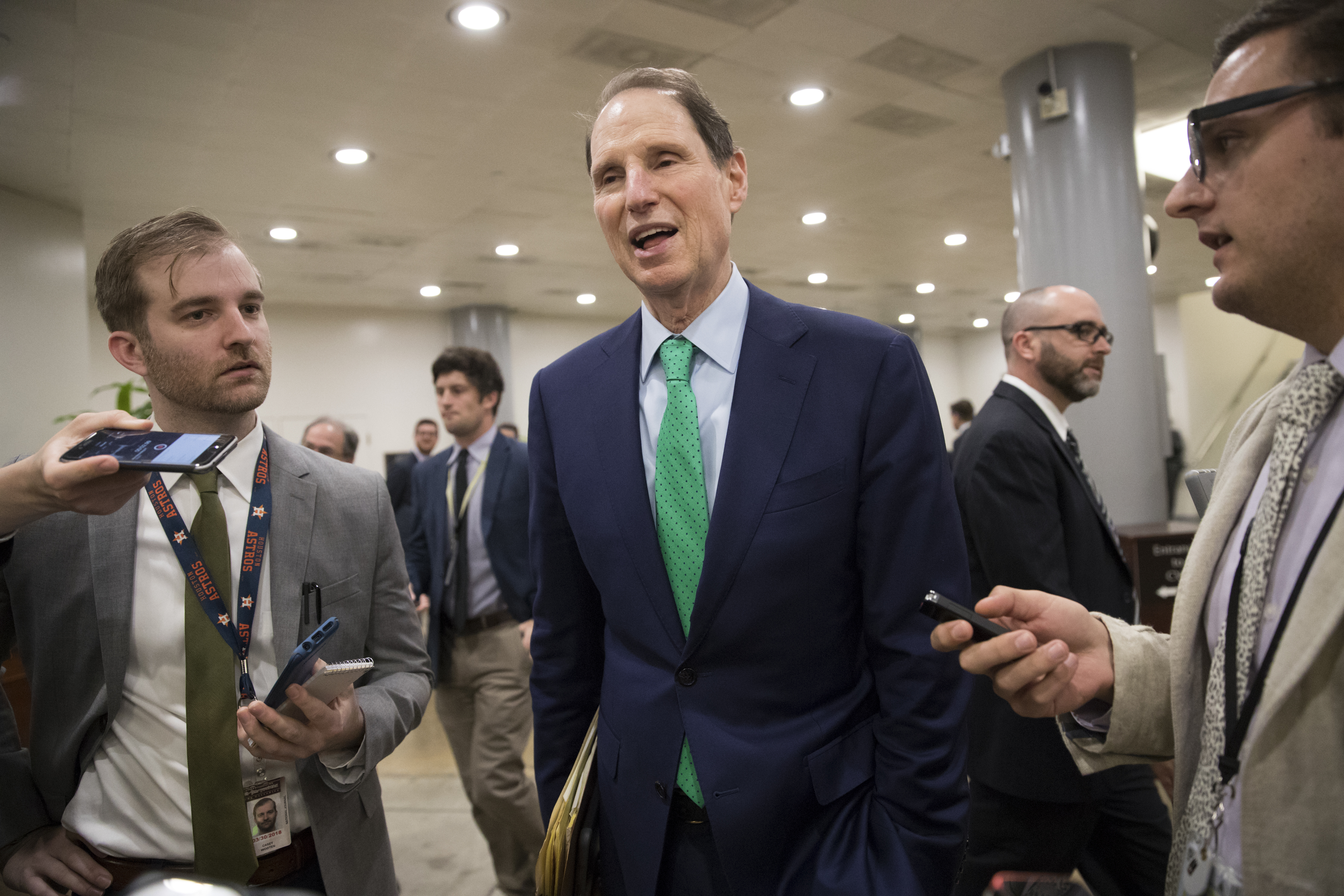 Sen. Ron Wyden, D-Ore., the ranking member of the Senate Finance Committee, arrives for votes at the Capitol in Washington, Oct. 19, 2017.