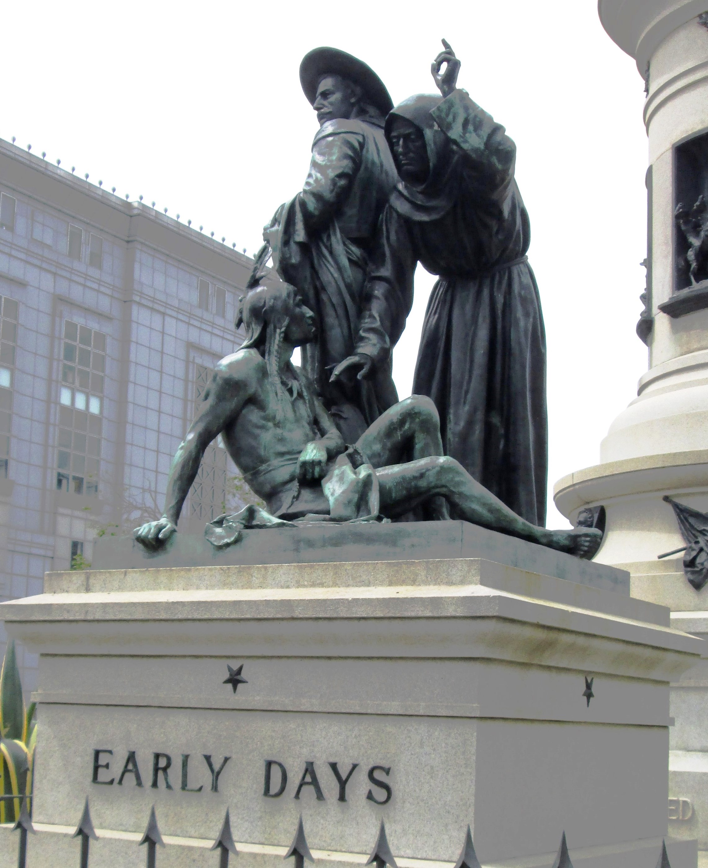 Detail of Pioneer Monument in San Francisco, California, dedicated in 1894.  Native Americans see it as a symbol of the forced conversion and assimilation of Southwestern tribes by Spain and the Catholic Church beginning in the 16th Century.
