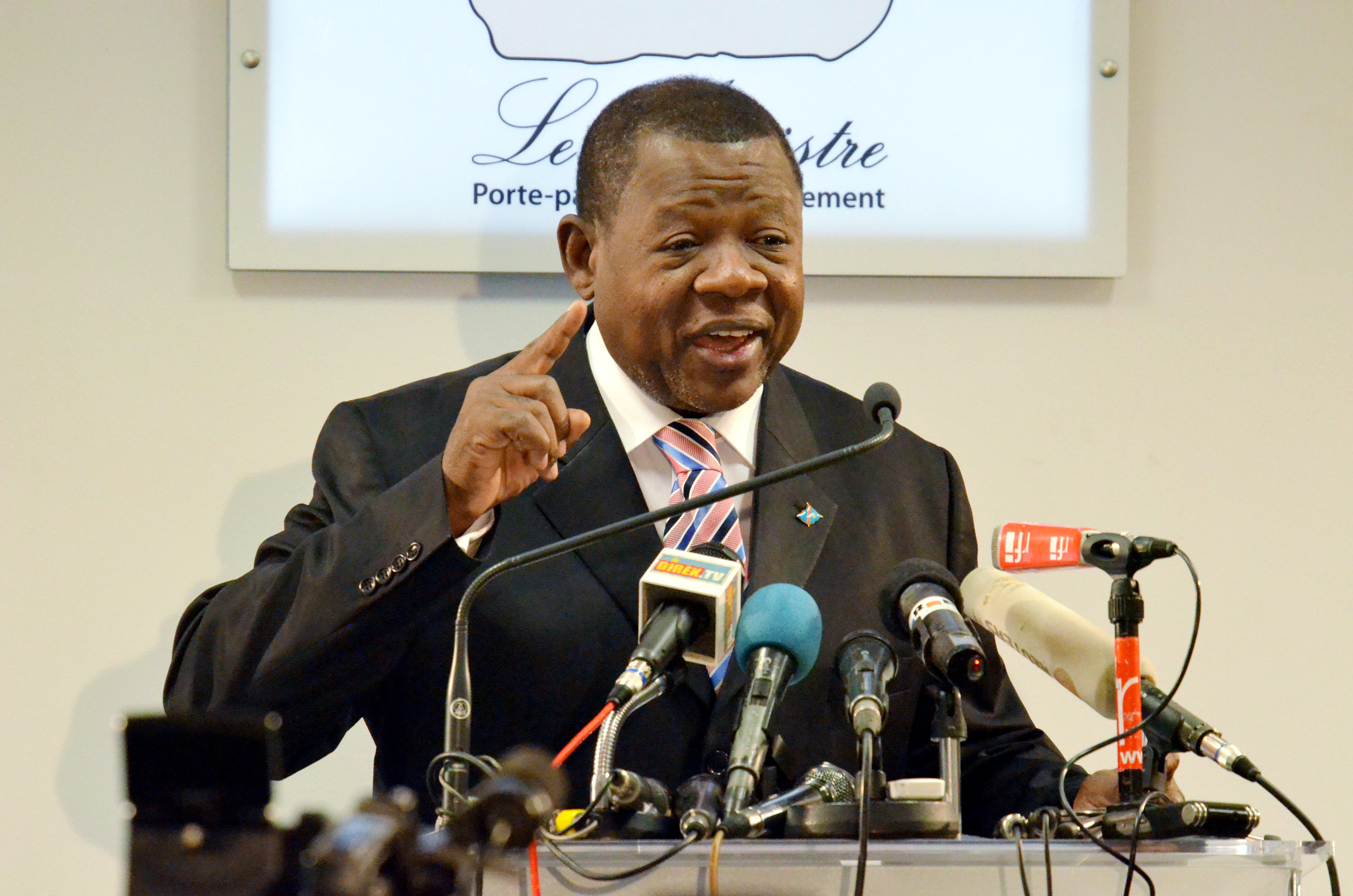 FILE - Congolese government spokesman and minister of information, communications and medias Lambert Mende.