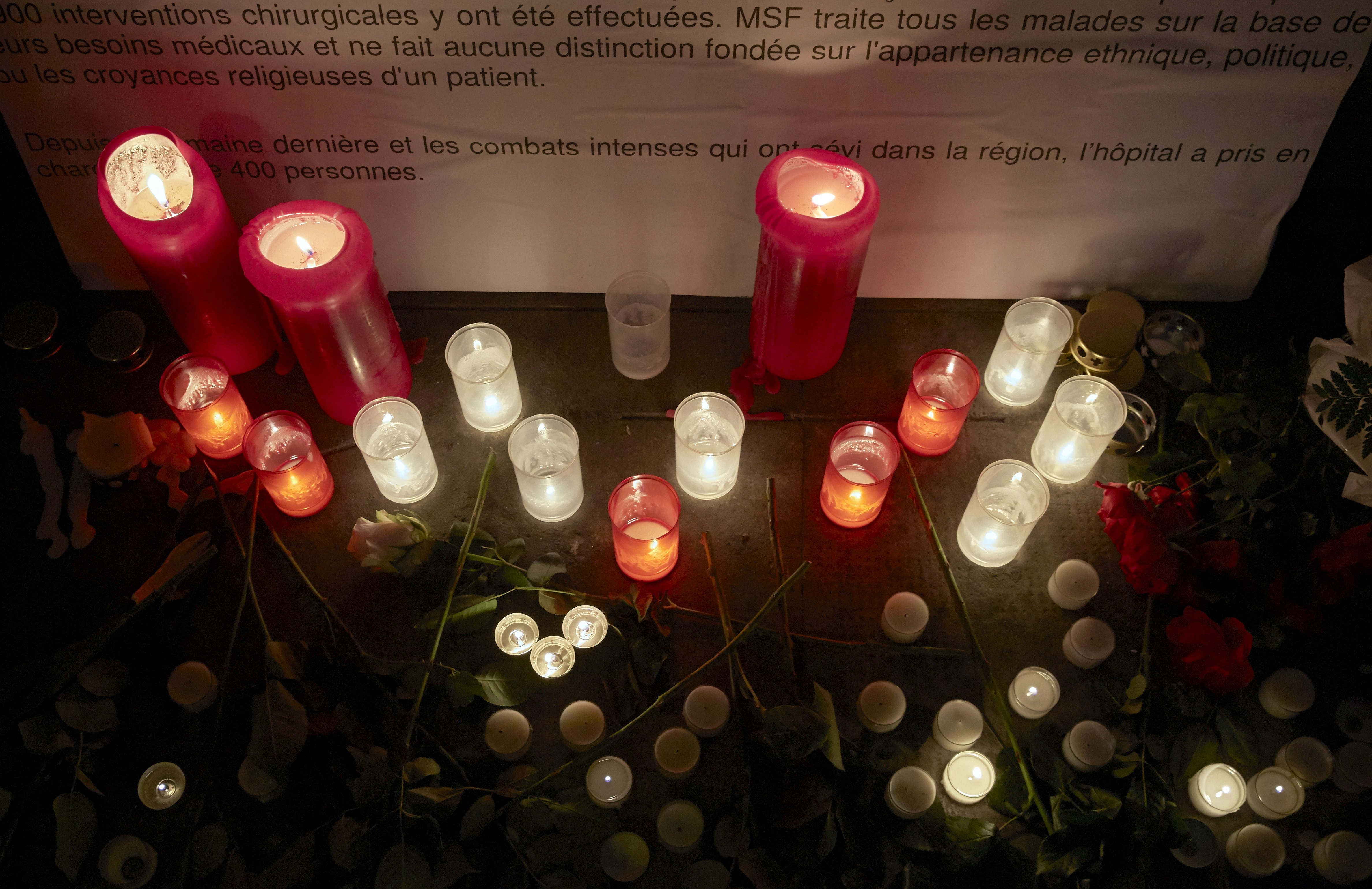 Candles are pictured outside the Medecins Sans Frontieres (MSF) headquarters in Geneva, Switzerland October 7, 2015. The U.S. military took responsibility on Tuesday for a deadly air strike on a hospital in the Afghan city of Kunduz, calling it a mis...