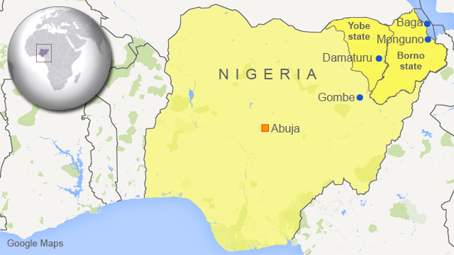 Map of Nigeria showing Monguno, Baga, Damaturu and Gombe