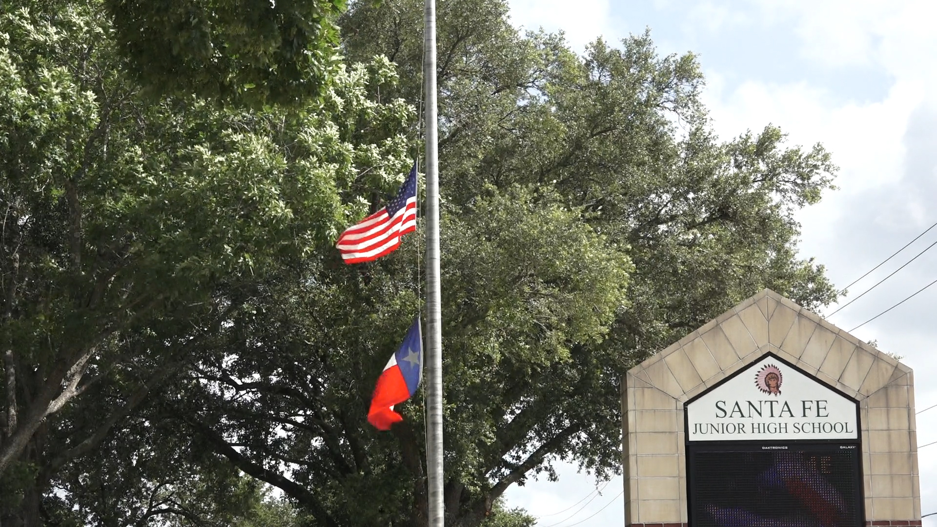 President Trump ordered U.S. flags be flown at half-staff until sunset May 22, 2018. This is the flag at Santa Fe Junior High in Santa Fe, Texas.