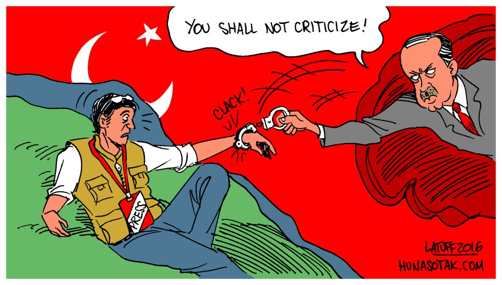 Brazilian cartoonist Carlos Latuff's take on the state of press freedom in Turkey.