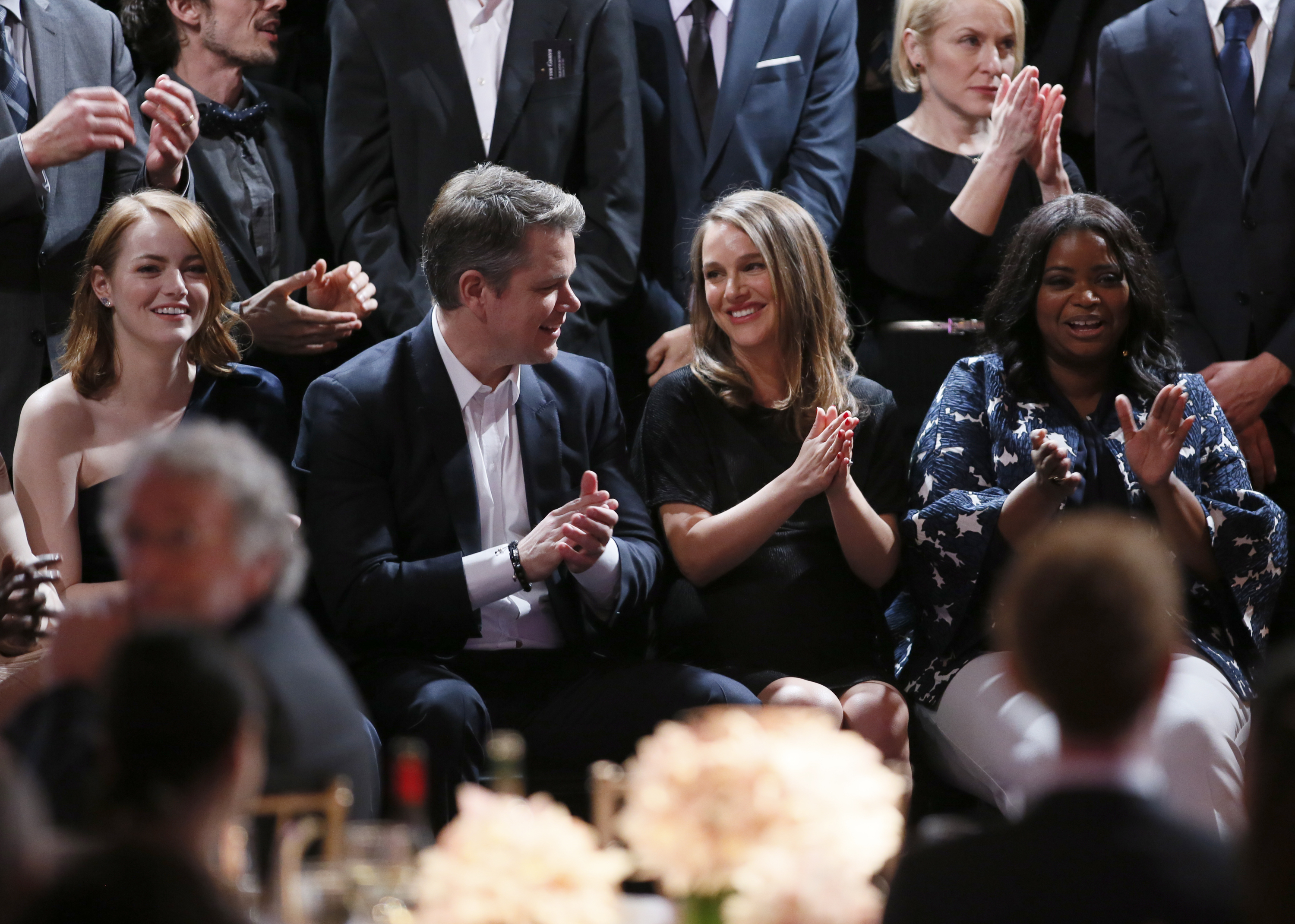 Emma Stone, from left, Matt Damon, Natalie Portman and Octavia Spencer at the 89th Academy Awards Nominees Luncheon at The Beverly Hilton Hotel, Feb. 6, 2017, in Beverly Hills, Calif.