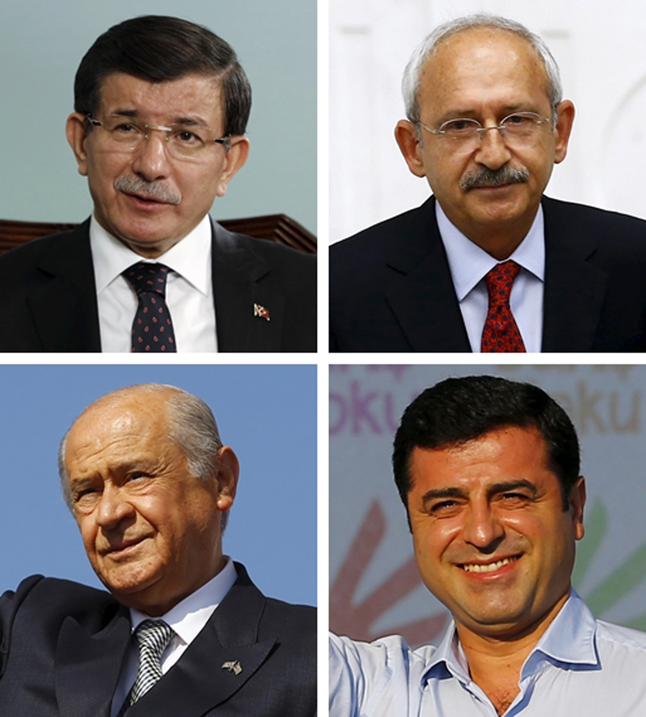 A combination of file pictures shows leaders of Turkish political parties Prime Minister Ahmet Davutoglu of AK Party, (top L), Kemal Kilicdaroglu of the main opposition Republican People's Party (CHP), Devlet Bahceli of Nationalist Movement Party (MH...