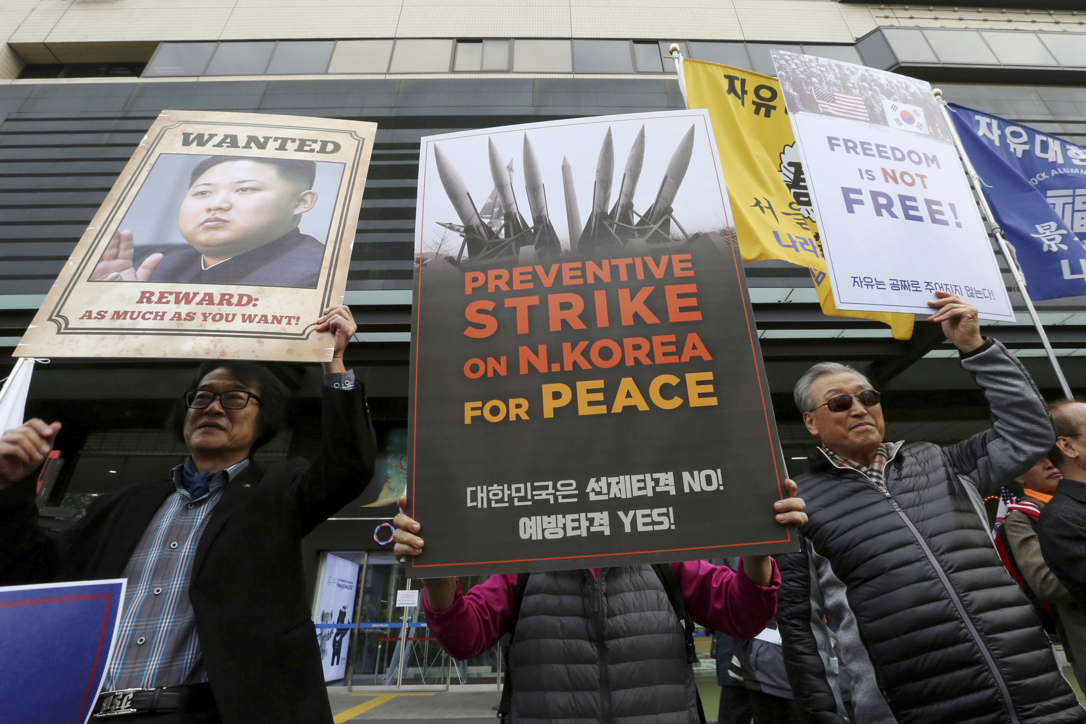 South Koreans protest against North Korea and Kim Jong Un during a rally near the U.S. Embassy in Seoul, South Korea, Nov. 6, 2017.