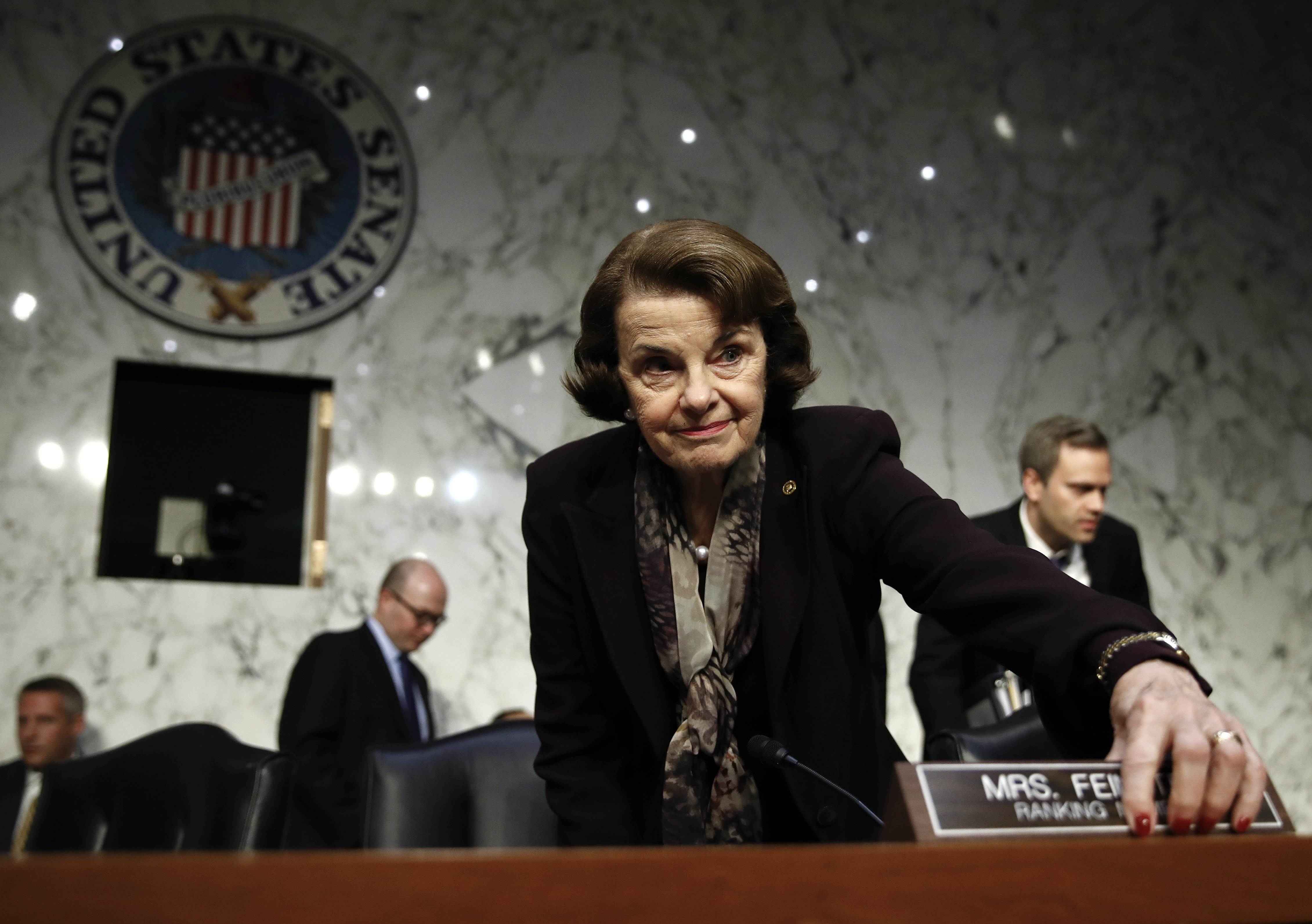 Senate Judiciary Committee ranking member Sen. Dianne Feinstein, D-California, arrives for a hearing of the committee, on Capitol Hill in Washington, Dec. 6, 2017.