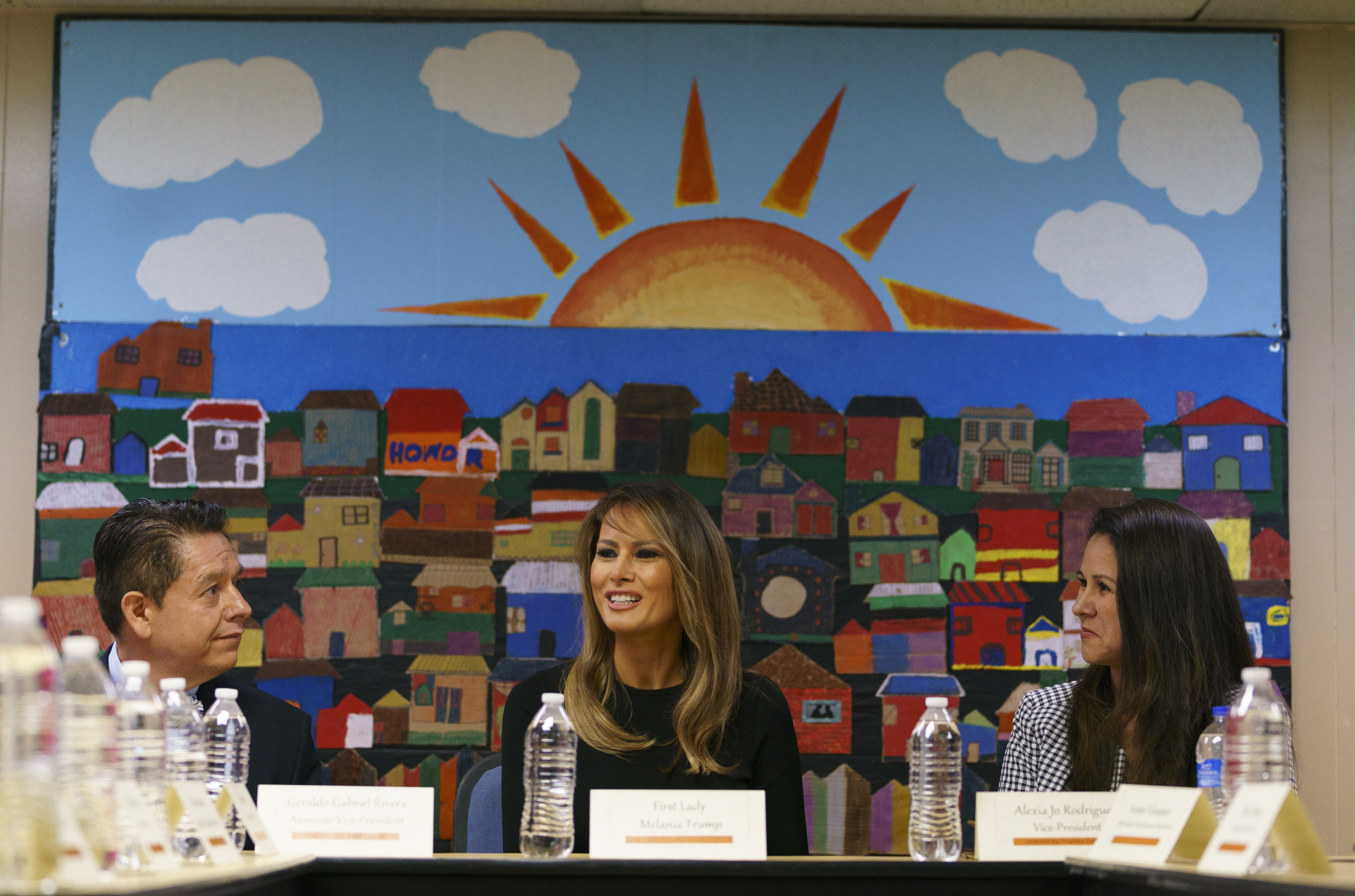 First lady Melania Trump, joined by Alexia Jo Rodriguez, Southwest Key vice president, right, and Geraldo Gabriel Rivera, Southwest Key associate vice president, left, participates in a roundtable discussion at Southwest Key Campbell, a shelter for c...
