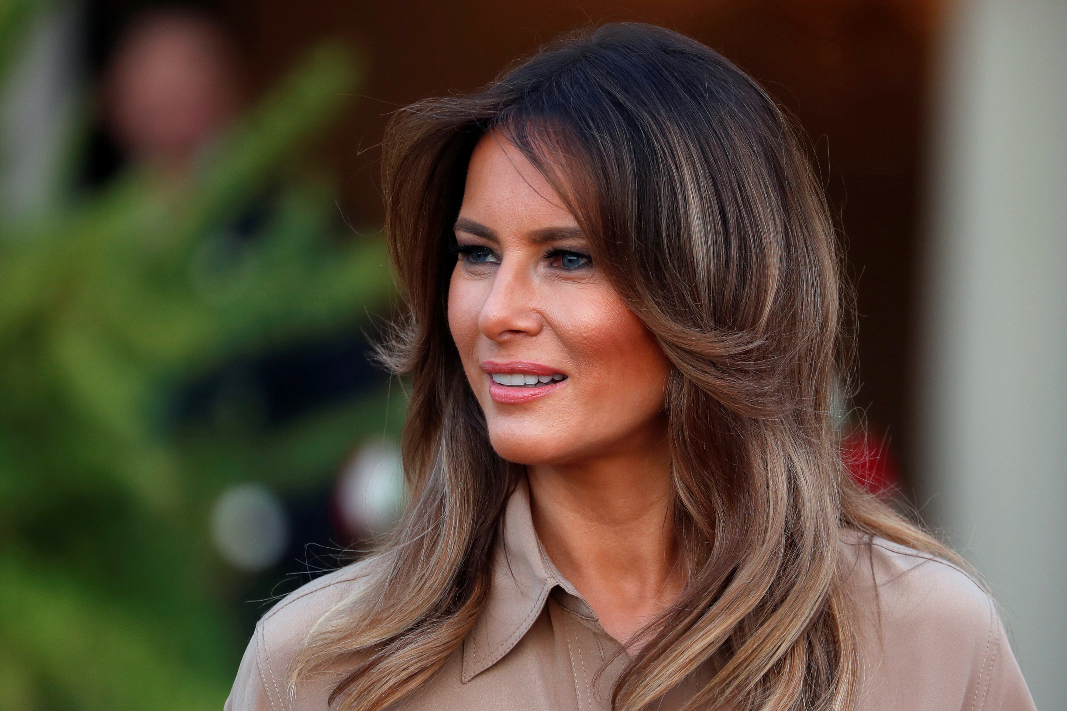 U.S. First Lady Melania Trump is pictured as she arrives at the State House in Lilongwe, Malawi, Oct. 4, 2018.