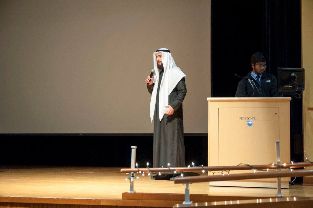 Zico Khayat wears his traditional Arab clothing as he speaks at a Penn State meeting.