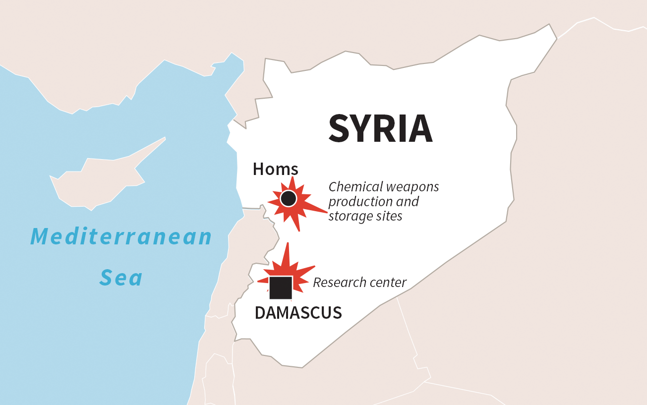 This map shows the location of targets for the April 14, 2018 strikes by Britain, France and the U.S. against Syria chemical weapons facilities.