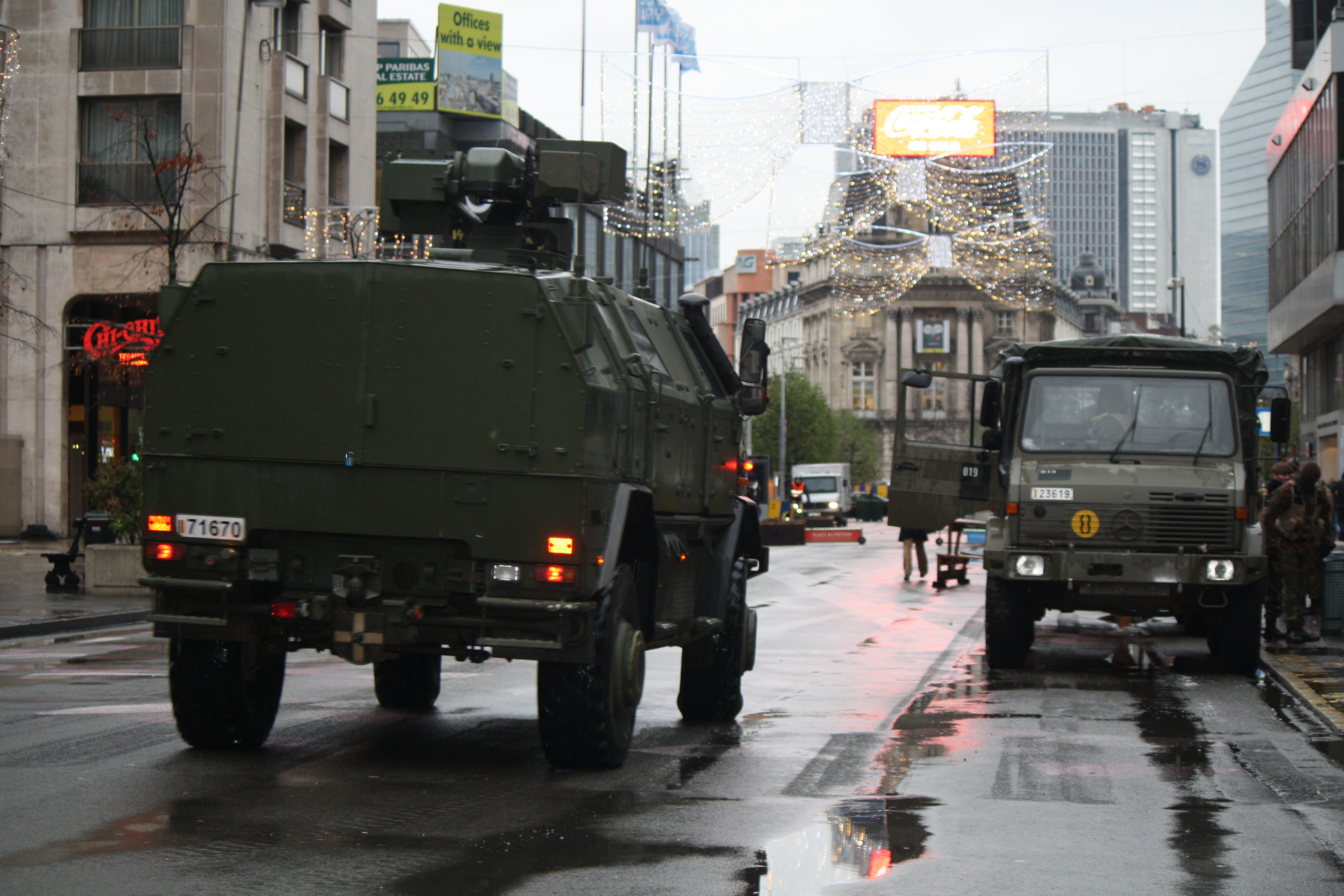 The military presence in Brussels appeared lighter on Tuesday as schools prepared to reopen on Wednesday, Nov. 24, 2015.
