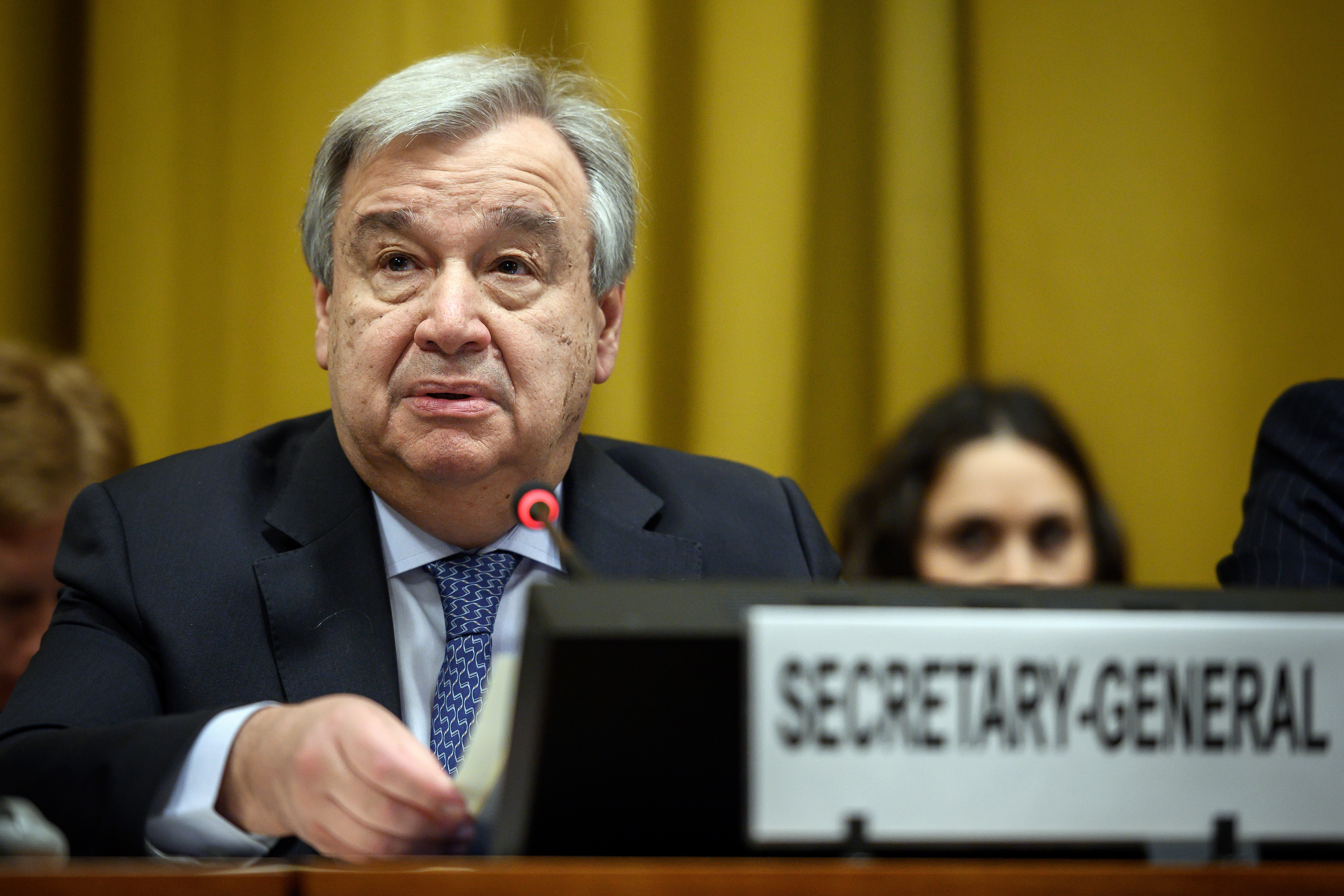 U.N. Secretary-General Antonio Guterres delivers a speech before the United Nations Conference on Disarmament, Feb. 25, 2019, in Geneva. -