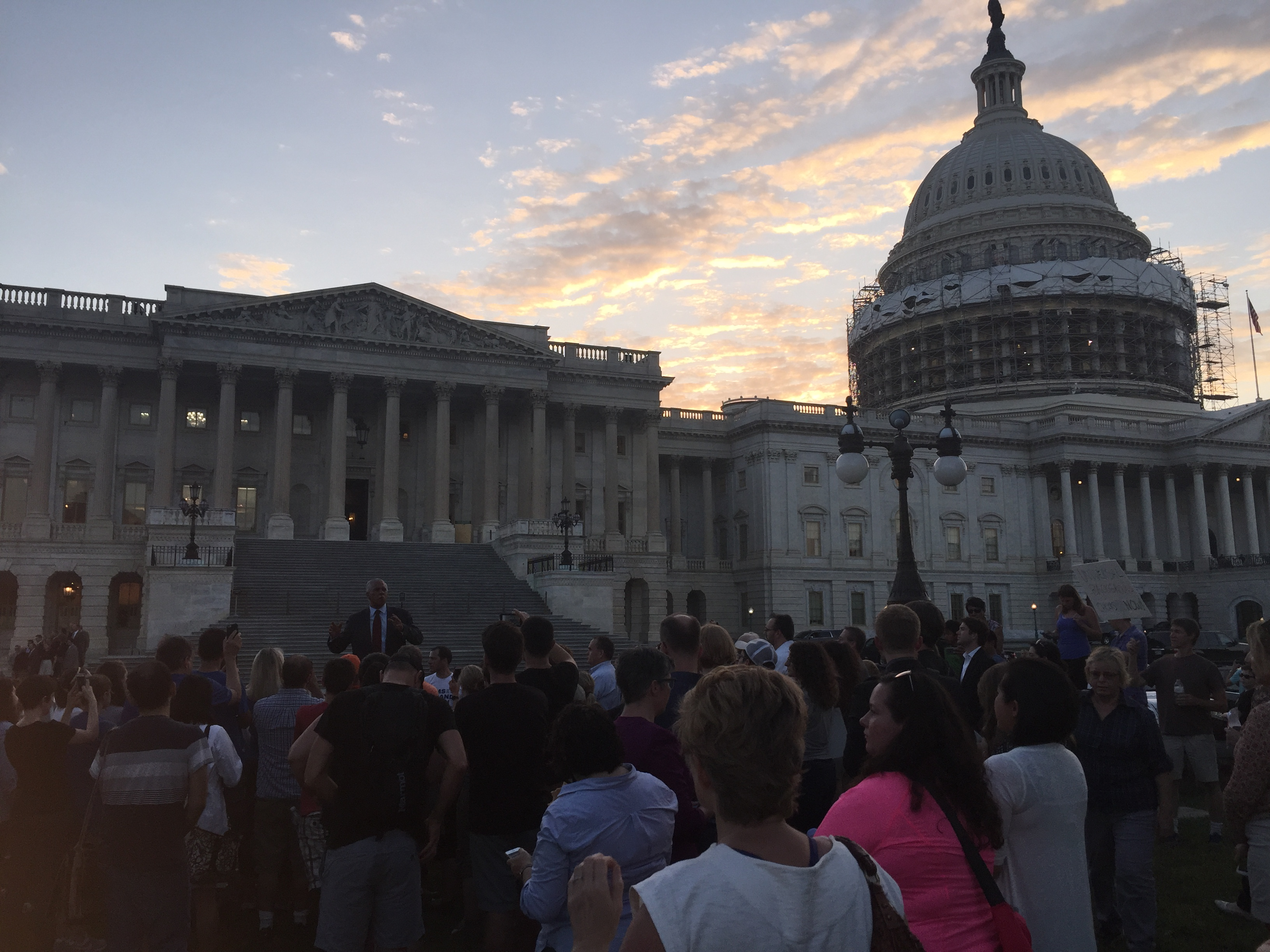 About 150-200 people gathered outside the Capitol late Wednesday in support of House Democrats who were holding a sit-in to force action on gun control legislation. The sit-in began about 11:30 a.m. local time Wednesday.