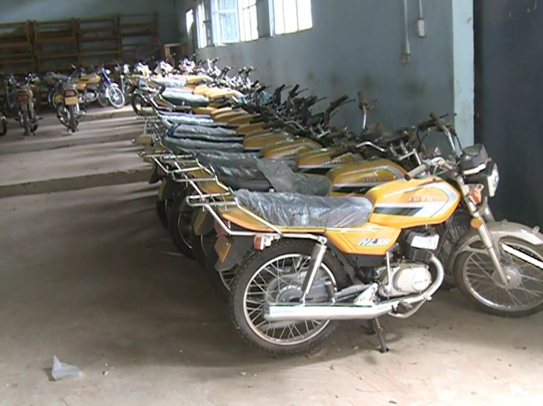 Motorcycles given to vigilantes are kept in Mora since the war has abated. (ME Kindzeka for VOA)