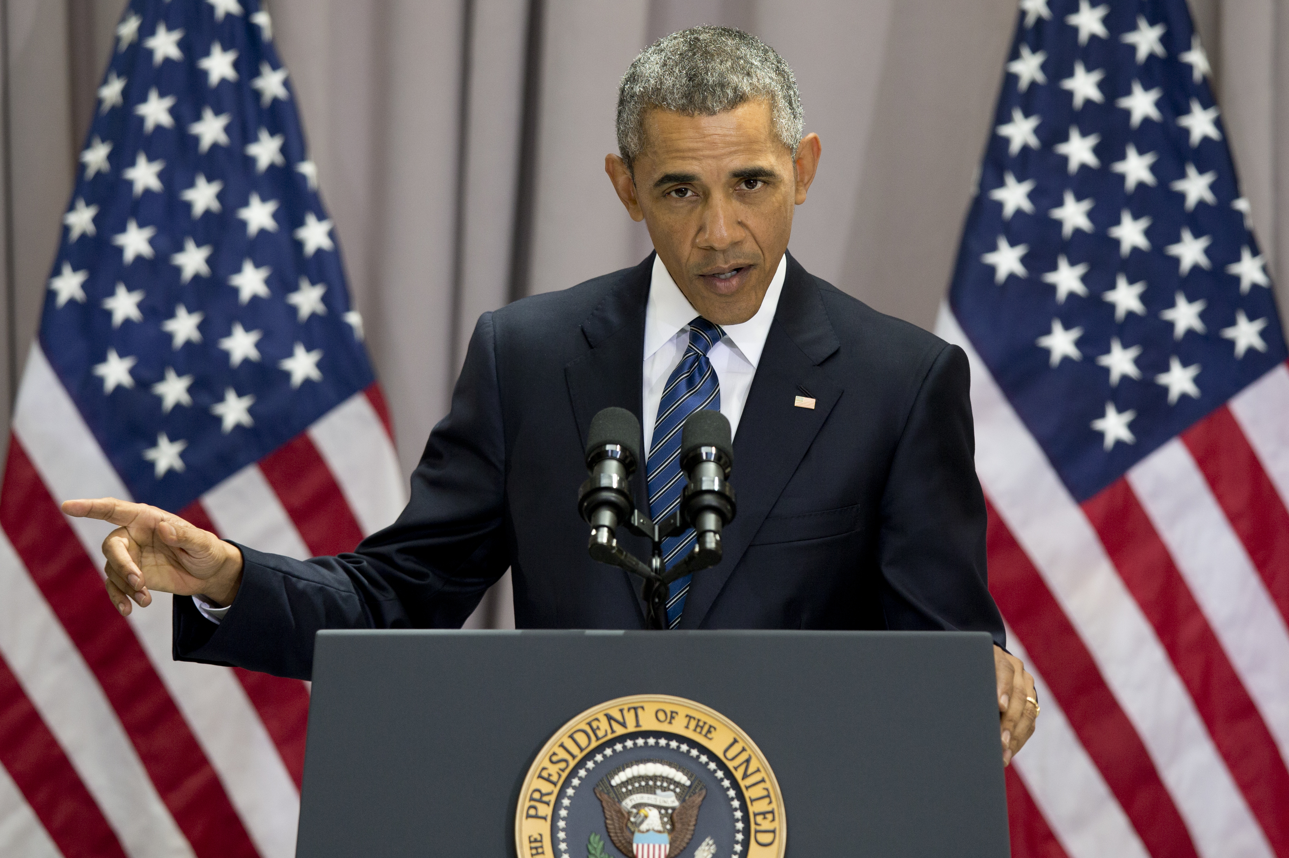 President Barack Obama speaks about the nuclear deal with Iran at American University in Washington, Aug. 5, 2015.