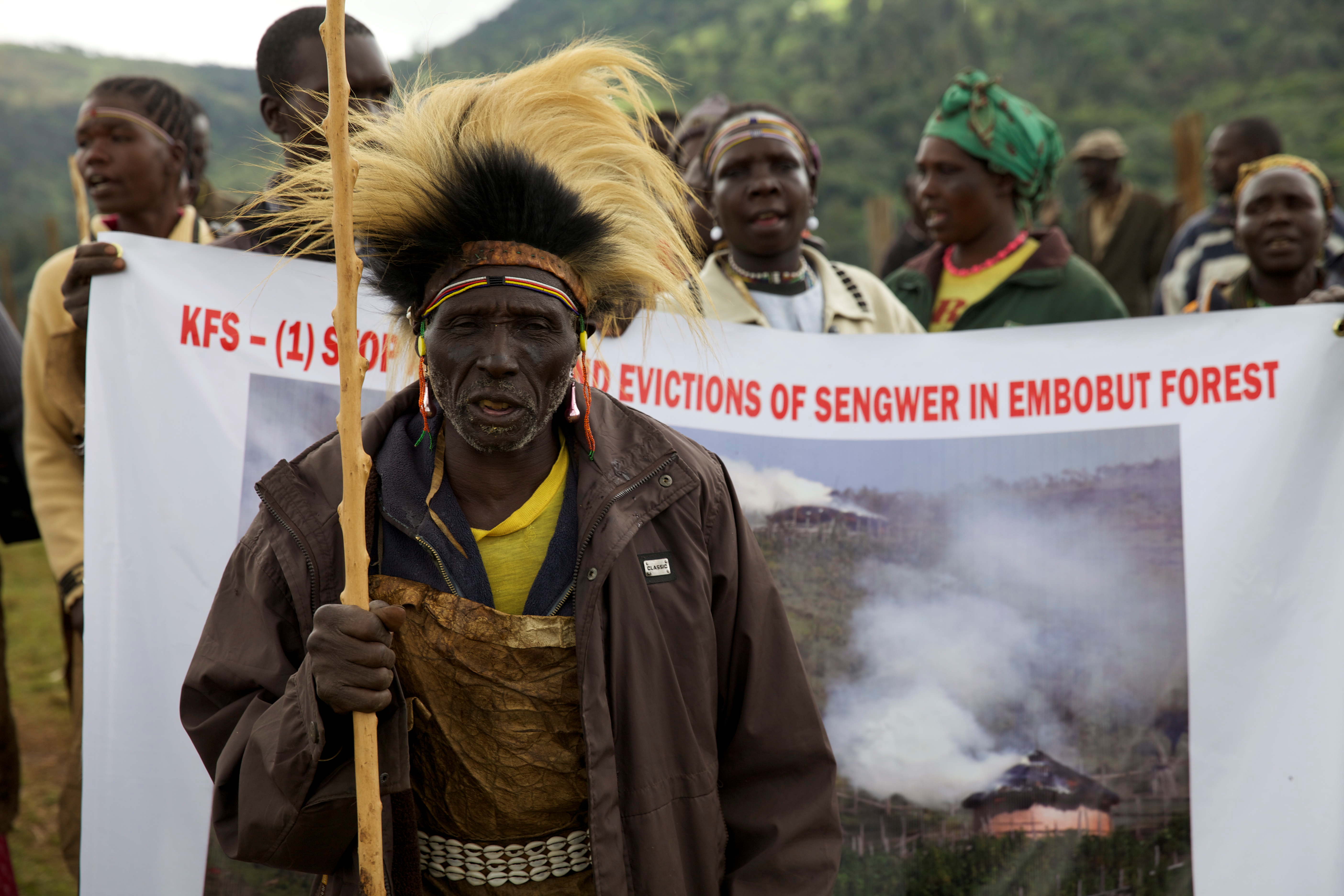 FILE - People from the Sengwer community protest their eviction from their ancestral lands, Embobut Forest, by the government for forest conservation in western Kenya, April 19, 2016.