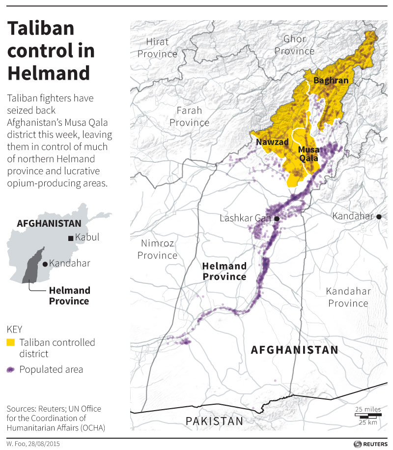 Map locating Taliban controlled districts in Helmand province of Afghanistan.